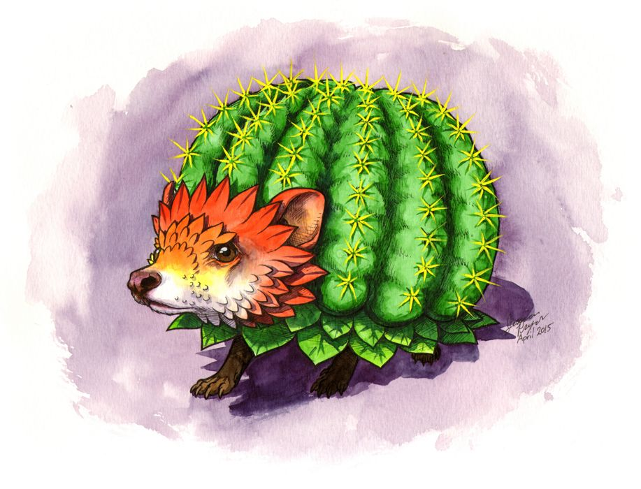Cactus hedgehog - Pen & ink with water color on 9x12 water color paper.2015
