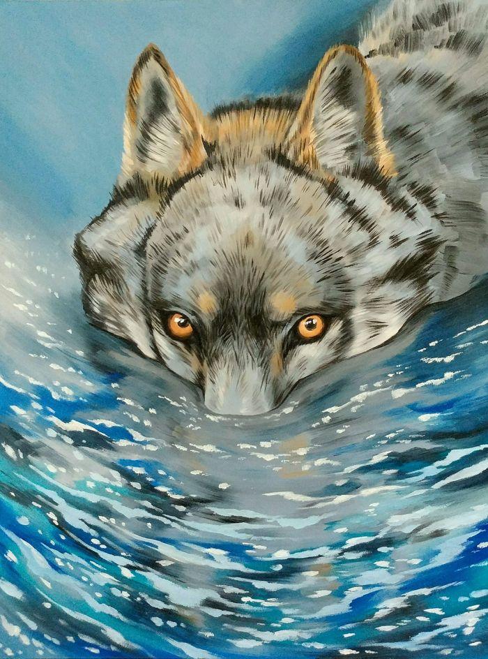 Water wolf - Oil paint on 9x12 gesso board.2015