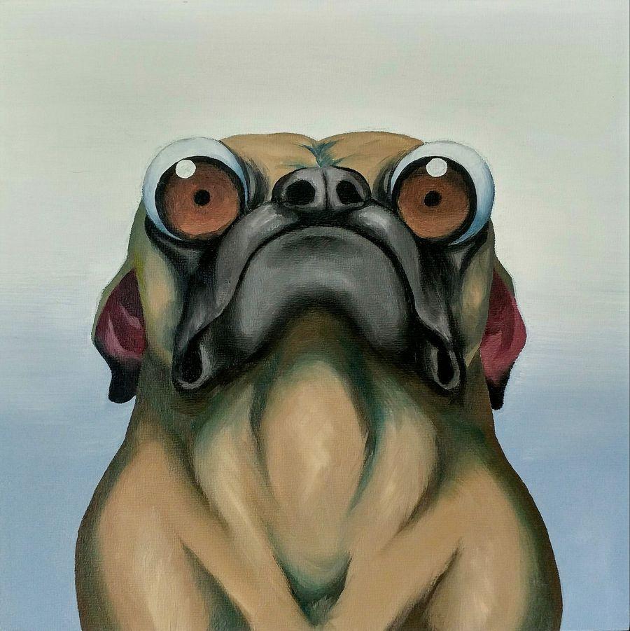 judgmental pug - Oil paint on 8x8 gesso board.2014
