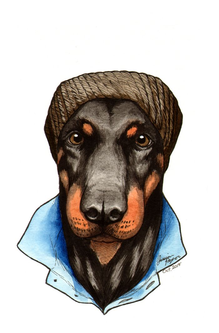 hipster dobie - Pen & ink with water color on 6x9 water color paper.2015