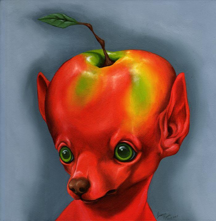 the fuji apple head chihuahua - Oil paint on 12x12 gesso board.2017