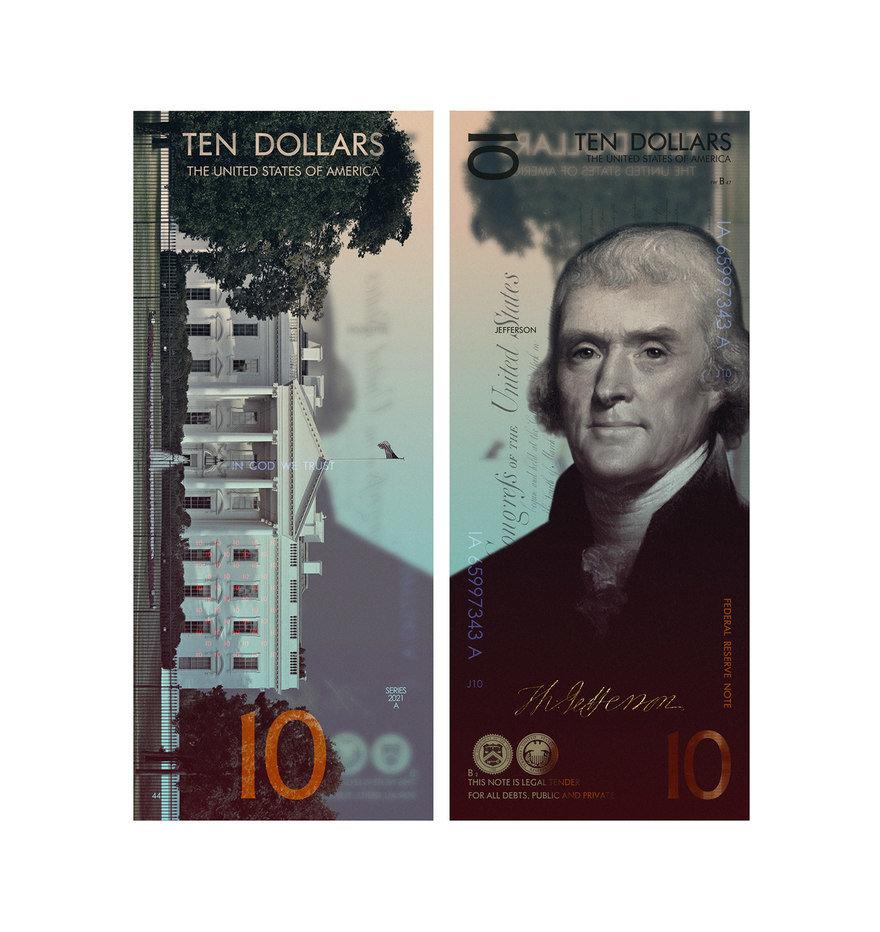 Luego tomó la iconografía del diseño del efectivo estadounidense actual y lo volvió a imaginar dentro de una nueva ventana, cambiando la orientación del paisaje al retrato (a excepción de una toma de la casa blanca obstinadamente horizontal):