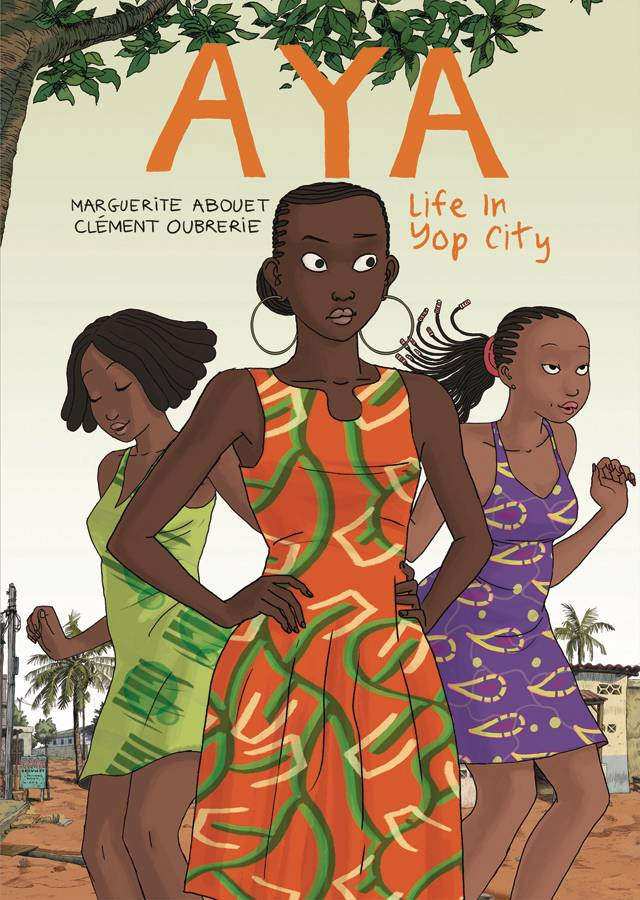 "Aya: Life in Yop City GN - Lauren's PickTime travel with author Marguerite Abouet as she revisits her childhood spent in Yopougon, a working-class Ivory Coast neighborhood, in the late 1970s. This charming slice of life story follows the hardworking Aya and the misadventures of her friends and neighbors in ""Yop City"". Abouet shows readers a West Africa in the midst of an age of prosperity. With help from gorgeous illustrations by her husband Clément Oubrerie, Aya: Life in Yop City beautifully captures the details of life in this specific time and place."