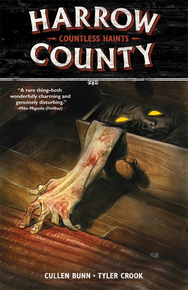 Harrow County TP Vol 1 - Gib's PickCullen Bunn (Deadpool Kills the Marvel Universe) and Tyler Crook (B.P.R.D. Hell on Earth) introduce us to Emmy in Harrow County Vol 01, Countless Haints.  Emmy finds out that she has ties to the strange and creepy things living in the woods.  There's a lot about her community she doesn't know, and the more she finds out, the weirder things get.  Cullen starts us on another epic journey through his imagination.  Like his Sixth Gun, the longer the journey, the more intriguing the world.  The art is both charming and creepy, not the easiest thing to pull off.  The first volume is very good and by volume three this series is great!
