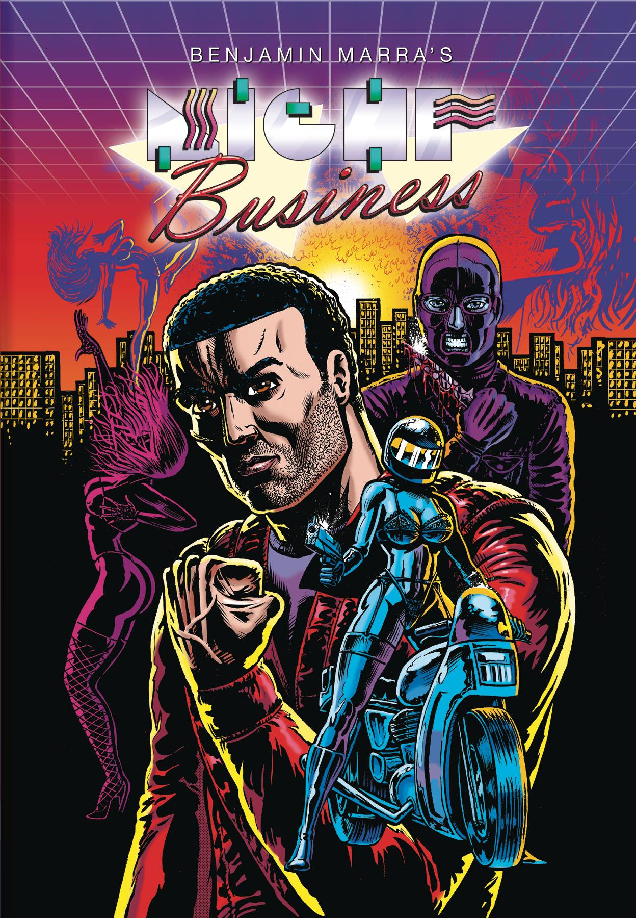 Night Business HC - Mike's PickAt last!  My most anticipated graphic novel of 2017 has arrived.  Ben Marra's Night Business is here and it does not disappoint.  Upon reading his deliriously lurid Terror Assaulter: One Man War on Terror in 2015, I knew I would be a lifelong fan.  His follow up, a collection of his self-published comics titled American Blood, only cemented my feelings.  Marra has shown himself to be a master of garish violence and sexuality delivered with deadpan irony.  This new story chronicling street toughs, strippers, gangsters, pimps, a secret society, and a slasher killer allows Marra to play to his strengths while the page count gives an epic feeling to the proceedings that is not present in his previous works.  If you consider yourself a fan of sleazy '80s slasher films or low budget actioners, you will dig this book.  With artwork reminiscent of something a stoner metalhead might have scrawled in a college ruled notebook during some long lost study hall, Night Business wears its underground, rock n' roll attitude on its sleeve.  For some, this book probably pushes the boundaries of good taste.  For me, it's trashy, tongue in cheek, gold!