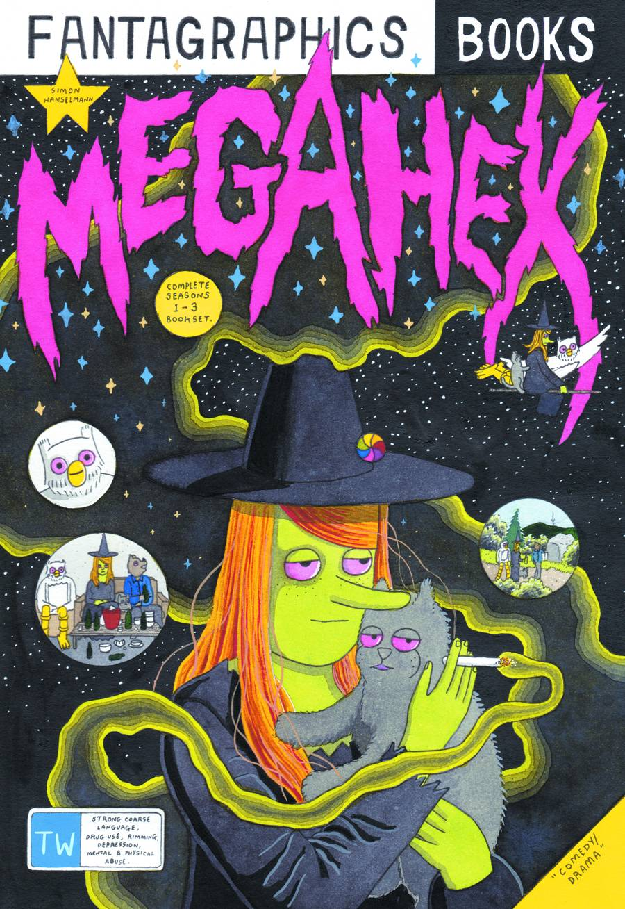 Megahex HC: Megg and Mogg - Lauren's PickWriter/Artist: Simon HanselmannStoner comedy meets deep existential dread in this book from Simon Hanselmann! Follow roommates Meg, Mogg, and Owl as they drink, smoke, and play cruel jokes on each other to distract from lives of quiet desperation. Megahex will have you laughing out loud, then you'll turn the page and feel bad for laughing but won't be able to stop. Get yours today, read it today, come back tomorrow to unpack the psychological issues these hilarious short stories will force you to confront!