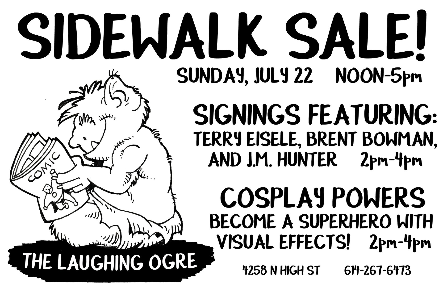Come join us for fun, comics and more at our Sidewalk Sale! This coming Sunday, July 22nd from 12 PM - 5 PM!
