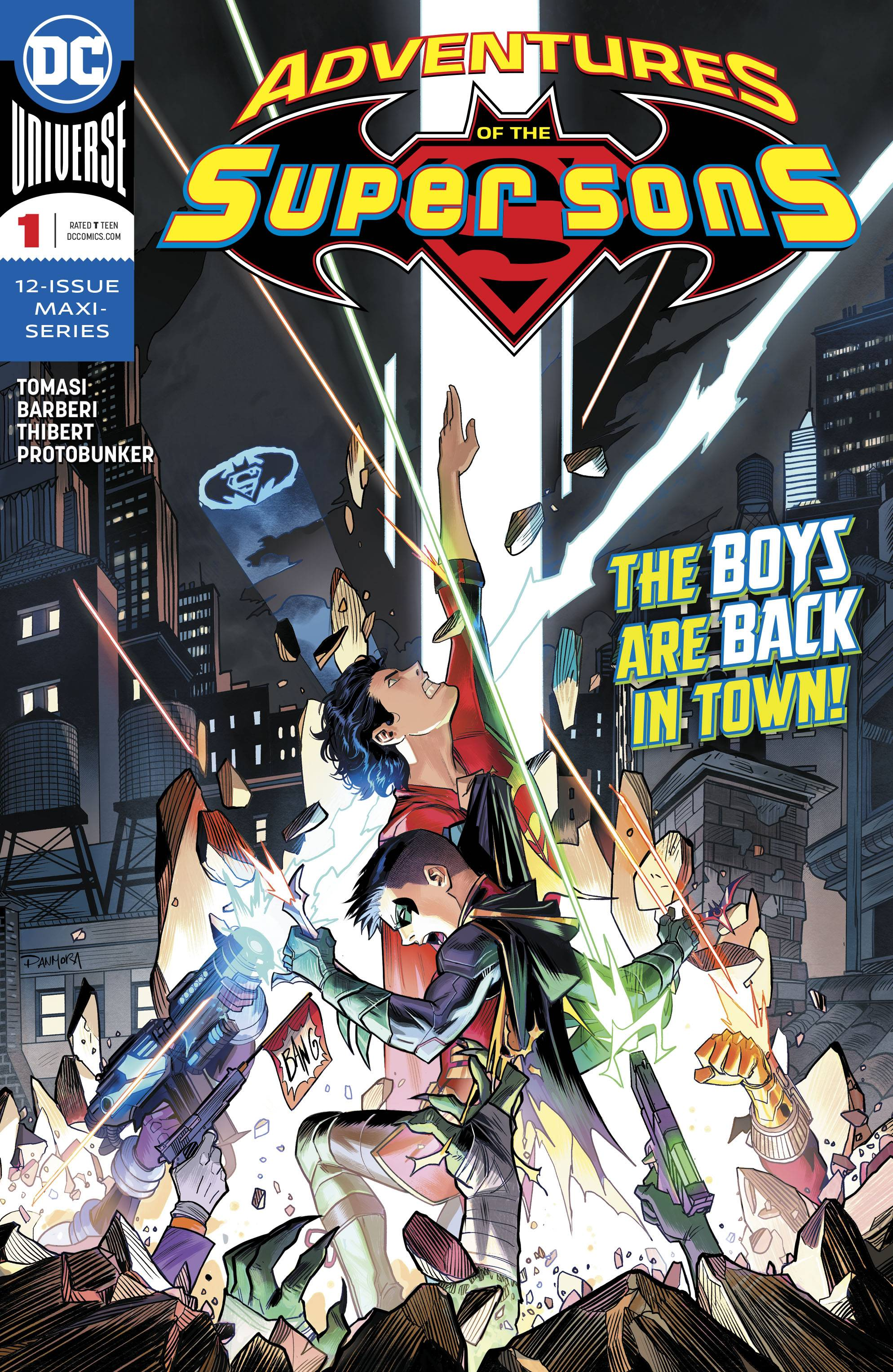 Adventures of the Super Sons #1 (of 12) - Trish's Pick Part IIWriter: Peter J. TomasiArtist: Carlo BarberiInker: Art ThibertColorist: ProtobunkerLetterer: Rob LeighI bet no one saw this coming, but I'm here to tell you all about my new favorite book, Adventures of the Super Sons. Continuing the journeys of Superboy and Robin, Peter J. Tomasi is back with another wacky adventure in which the two boys find themselves face to face with a team of familiar yet entirely alien foes. With Carlo Barberi on pencils and Art Thibert inking, the art style is slightly different yet very reminiscent of the previous art with vastly fun and expressive faces. The boys' relationship has obviously progressed and shows that they've gotten closer as friends, but also maintains the very playful and hilarious banter that made the first series so great.