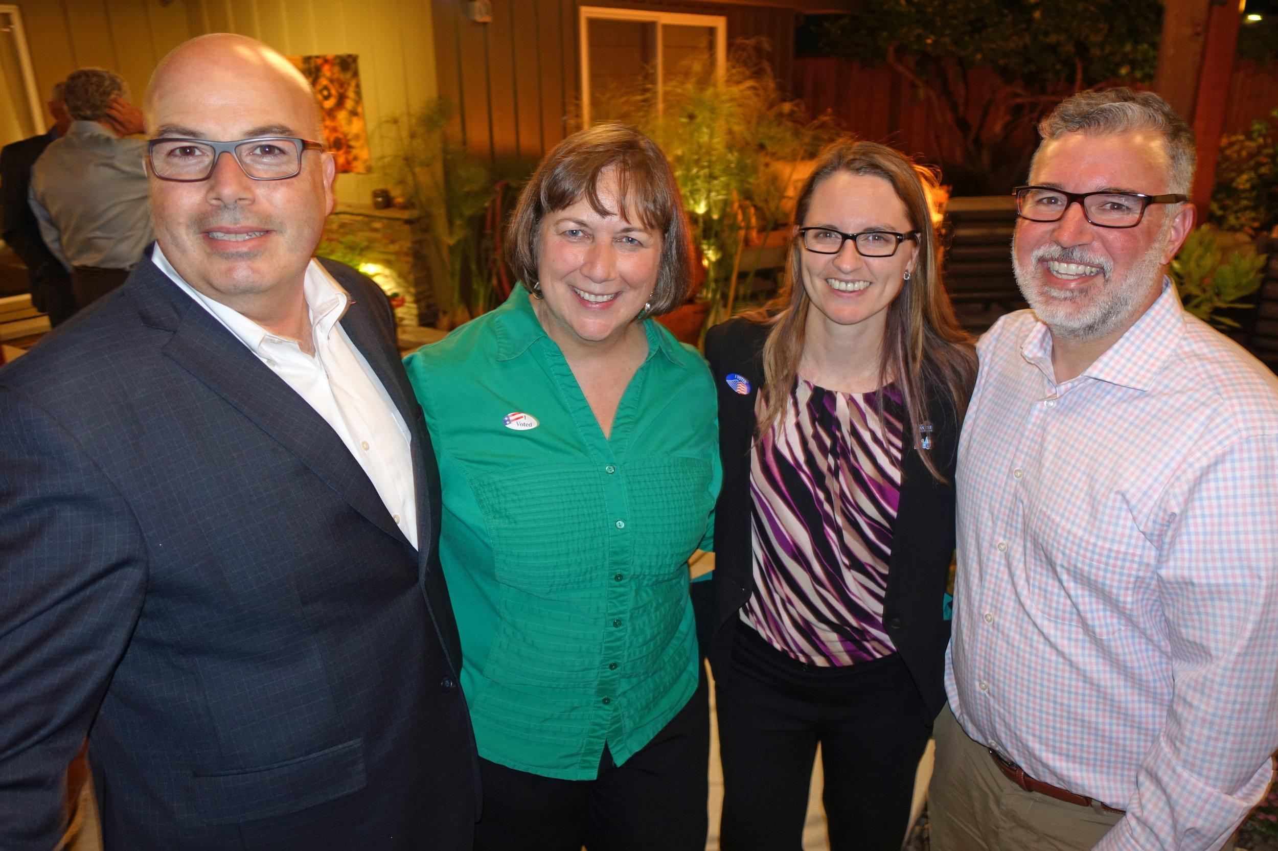 Election Night: Councilmember Johnny Khamis, me, Councilmember Dev Davis, fellow San Jose Unified School District Board Member Michael Melillo