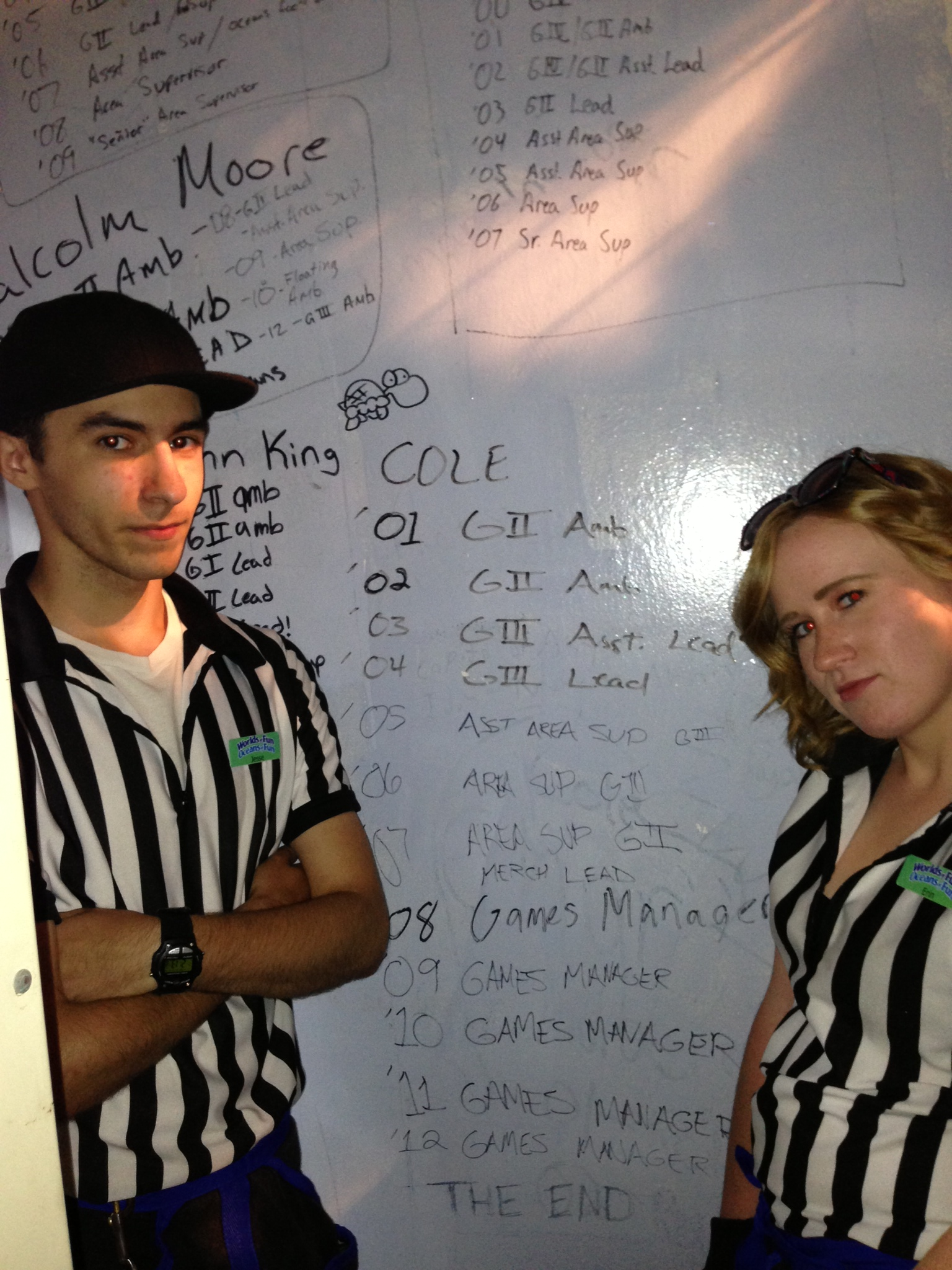 "Click to enlarge - Cole's name written on the back wall of a games section, seen in the video ""The End"""