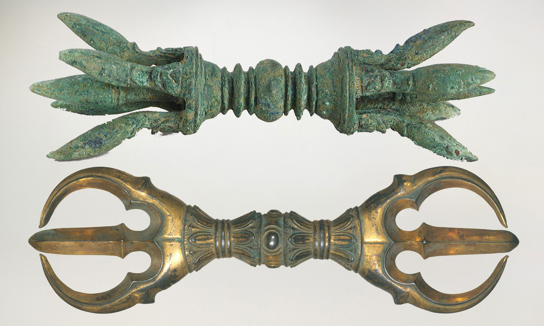 Ancient artifacts representing the Thunder Diamond (Dorje) or (Vajra)