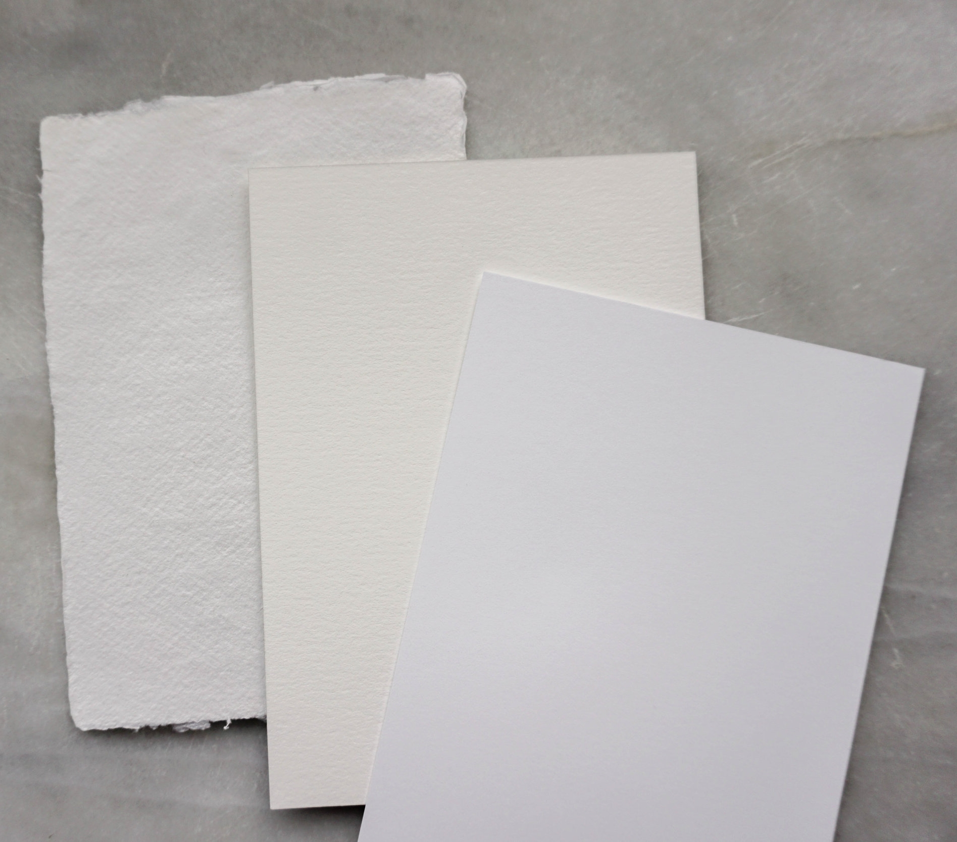From left to right: Handmade, Cotton, Cardstock