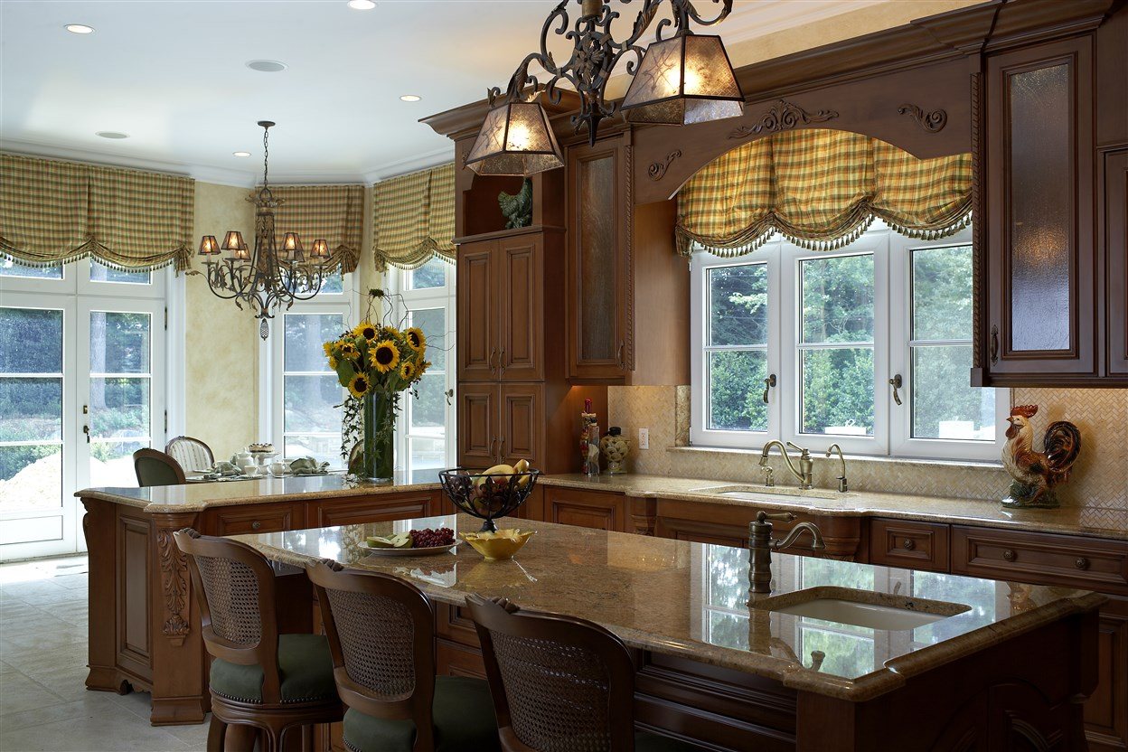 Kitchen area with wooden cabinets