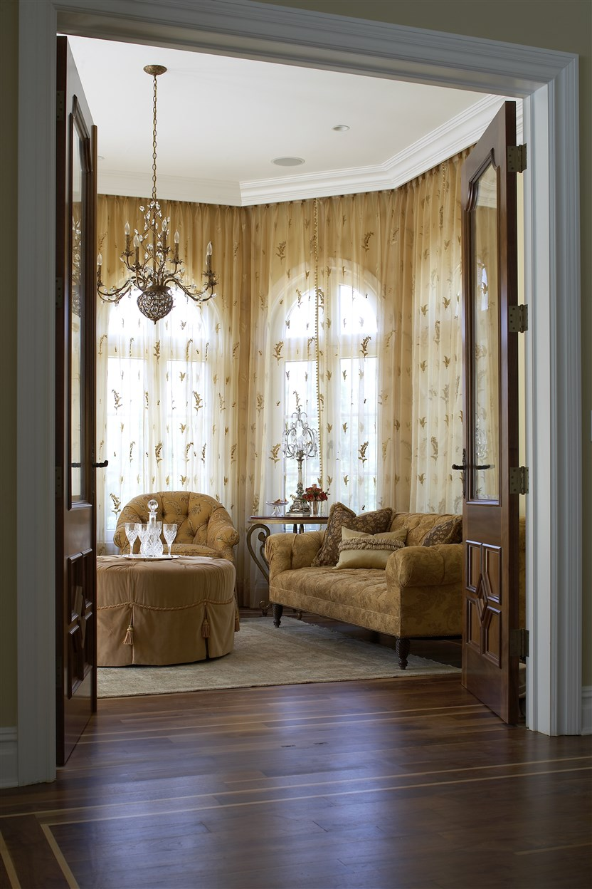 entrance to living room with doors open