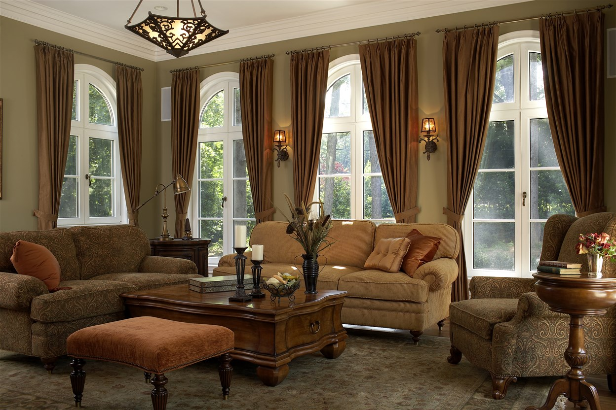 Cozy living room with wide windows
