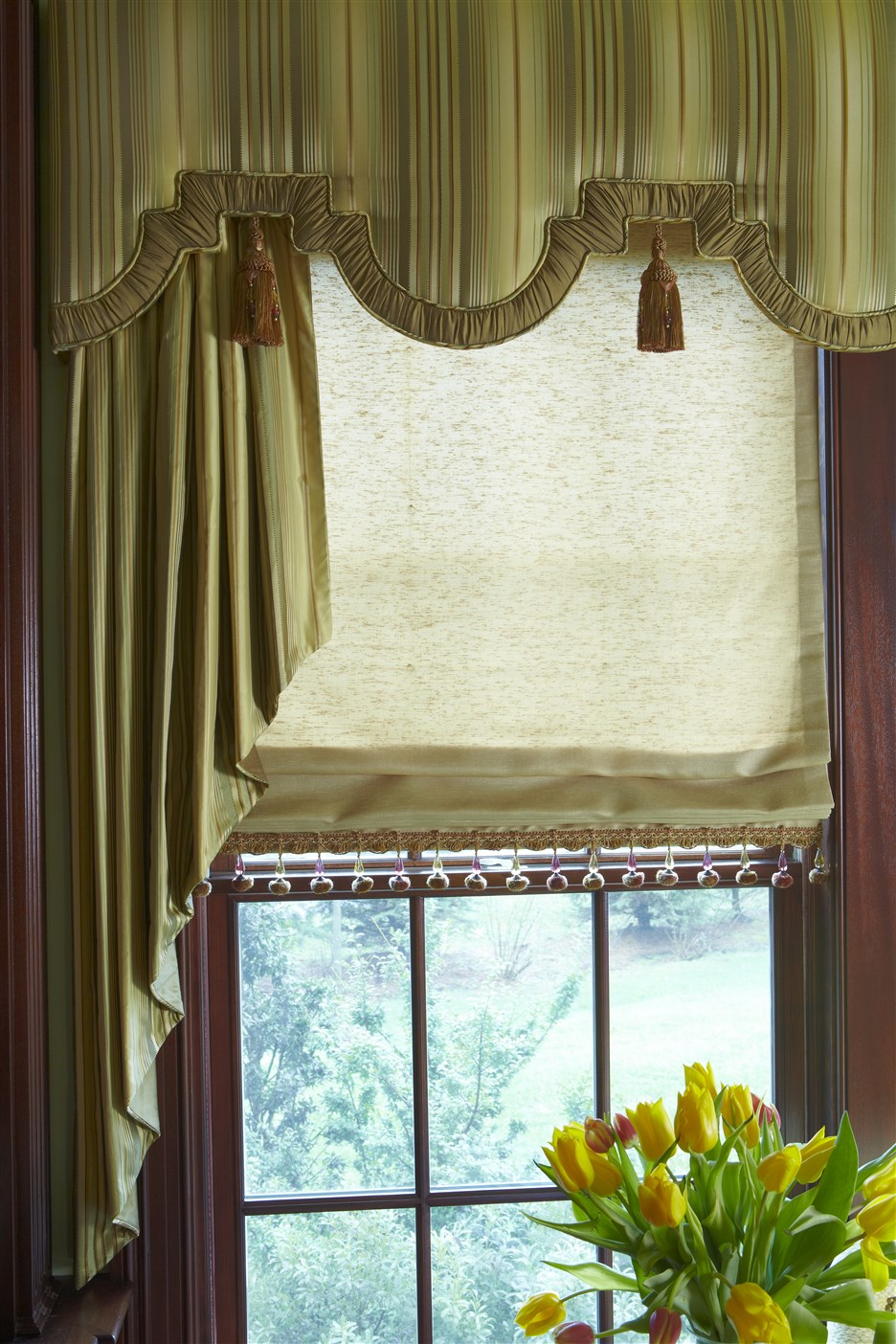 Living room window with luxurious curtain
