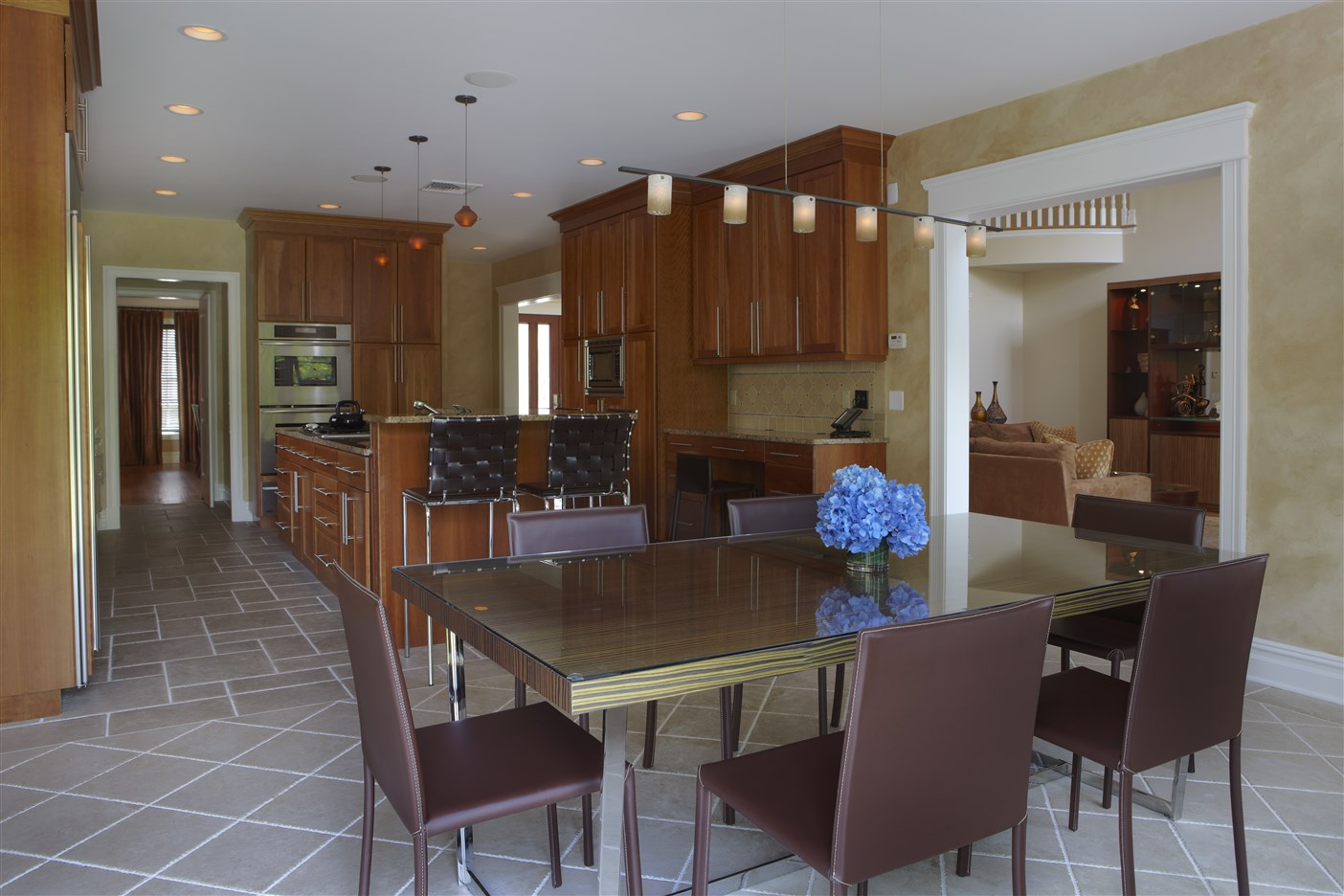 Kitchen and dining area with table for six