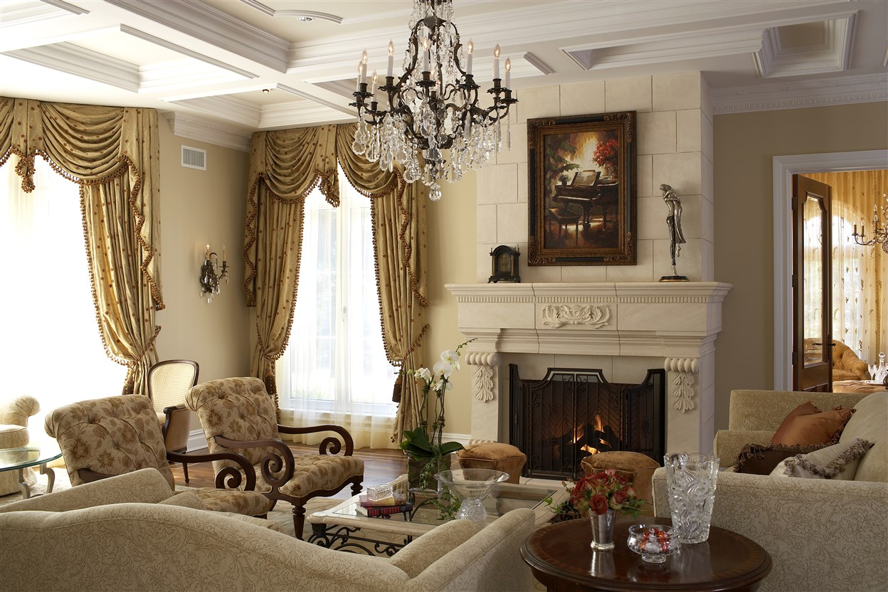 Elegant interior design of living room with furniture and fireplace