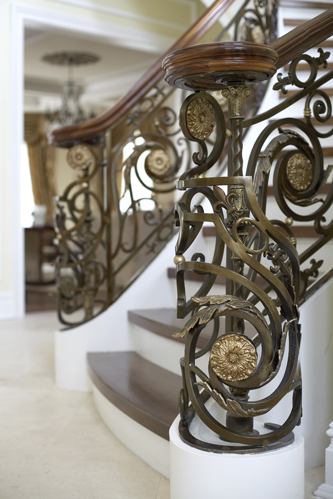 Artistic detail of staircase railing