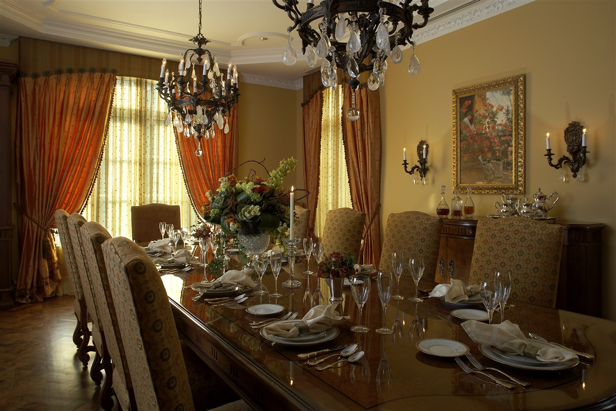 Dining area with table set for dinner