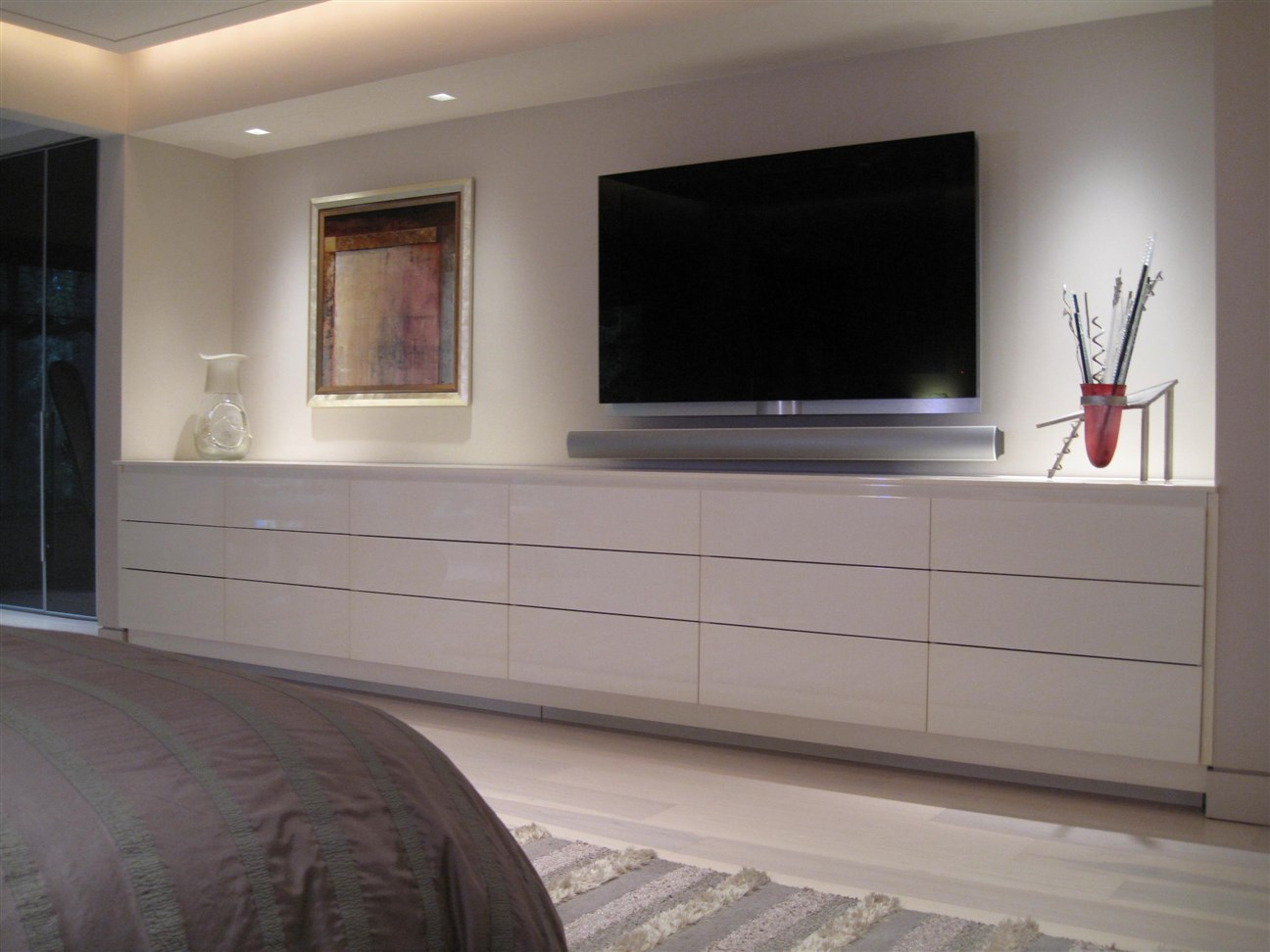 LED tv on the white painted wall