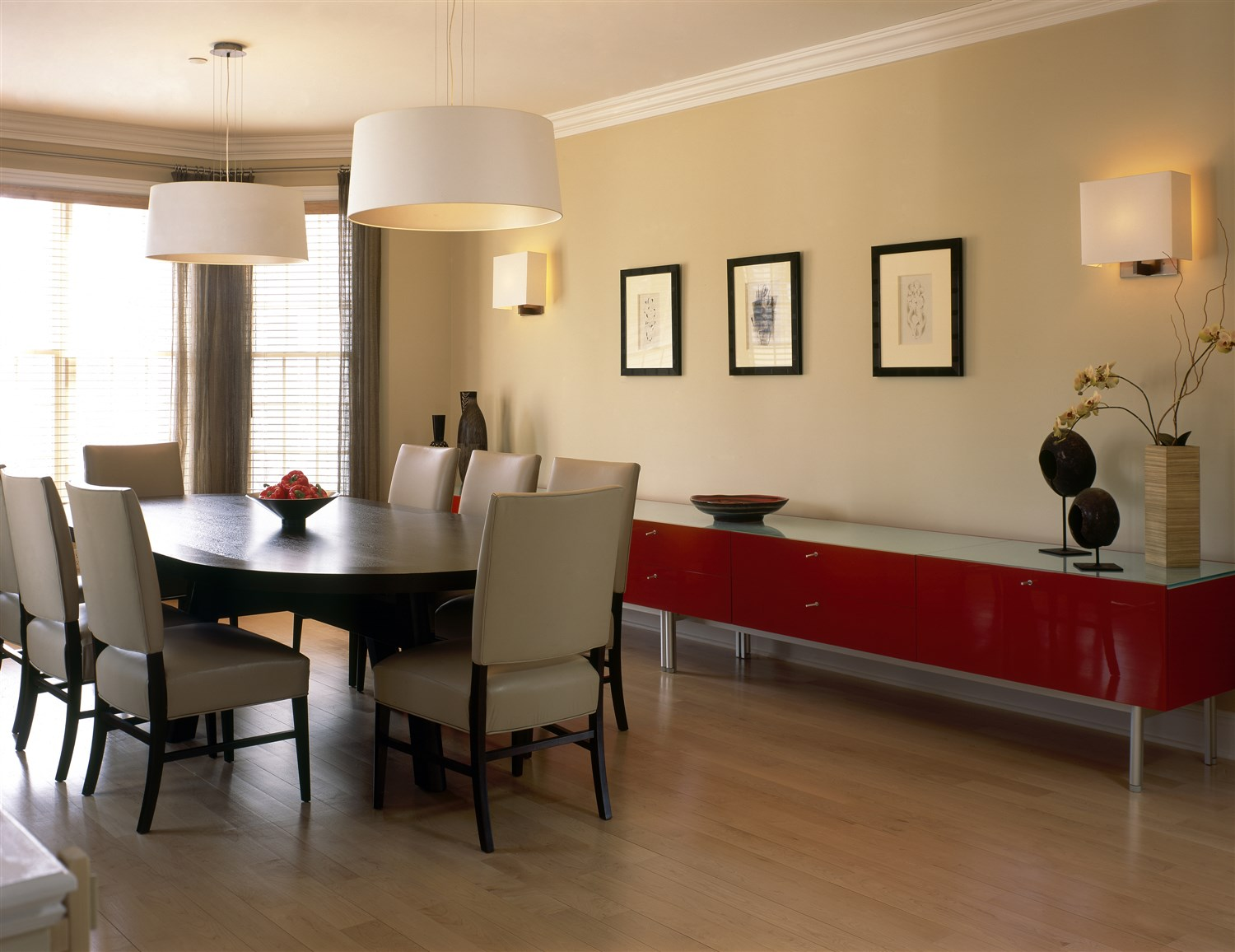 Spacious Modern dining area with rectangular table for eight