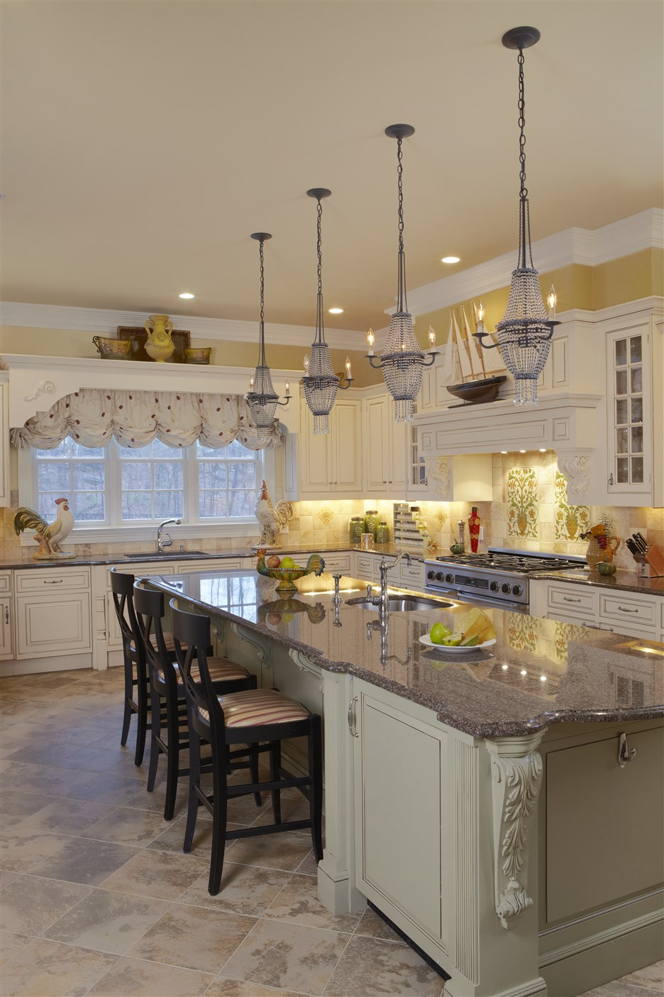 Modern design kitchen with four stylish hanging lamp on ceiling