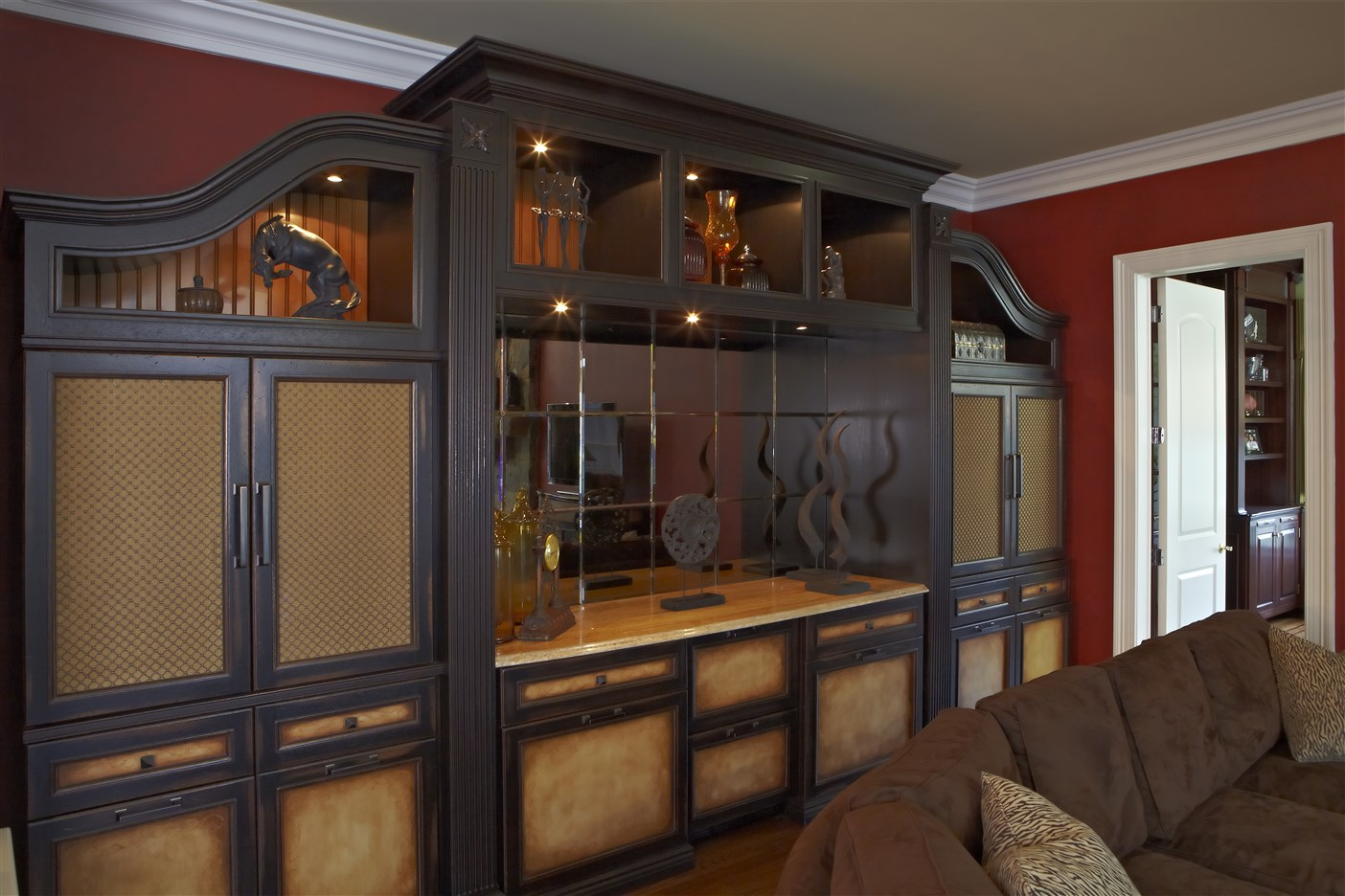 Large brown wooden shelves