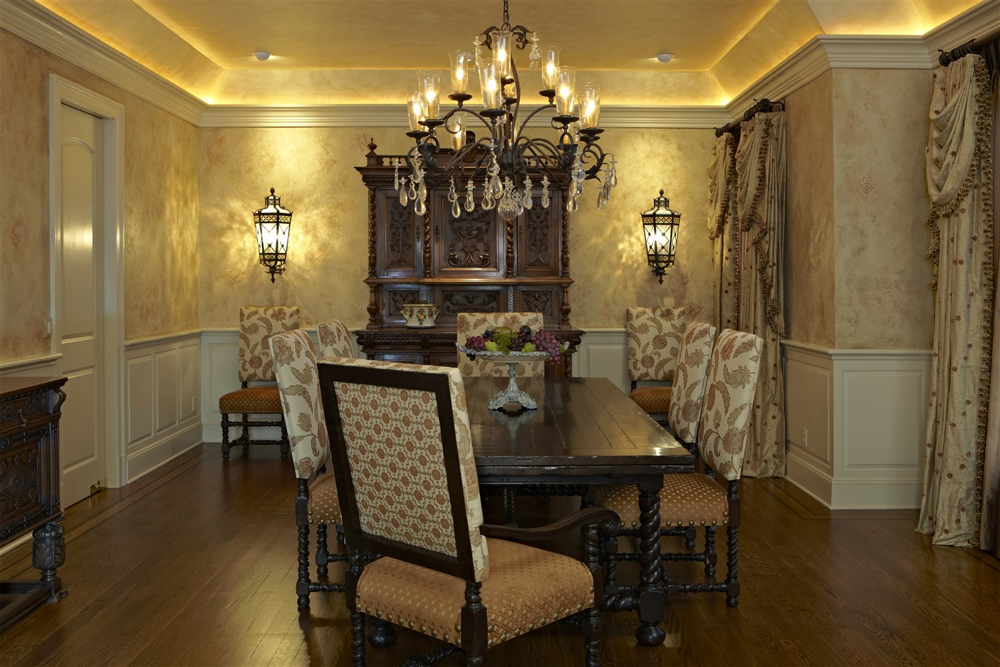 Dining area with wooden table for  eight