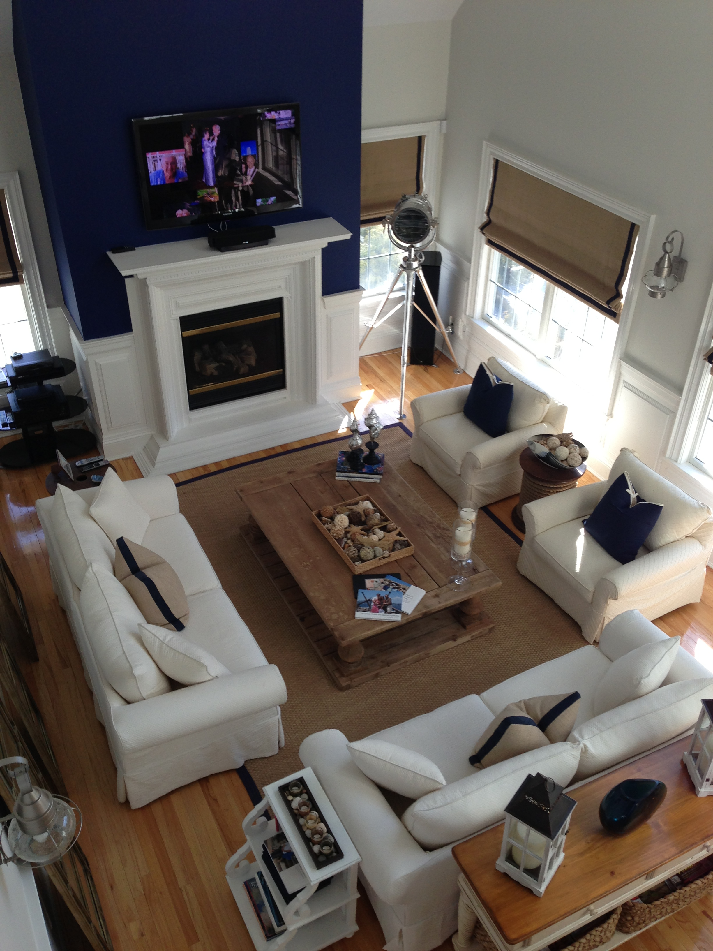 Modern design living room with set of white sofa