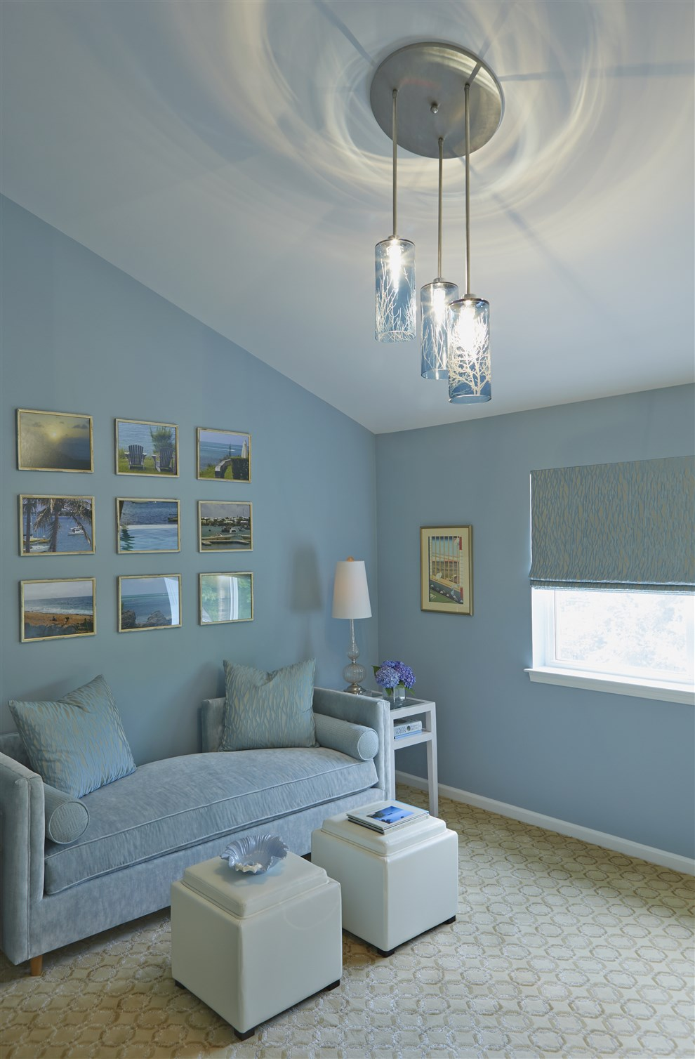 Living room with blue and white couches