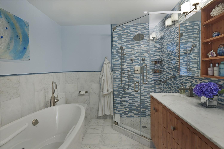 Bathroom area with bathtub and shower room