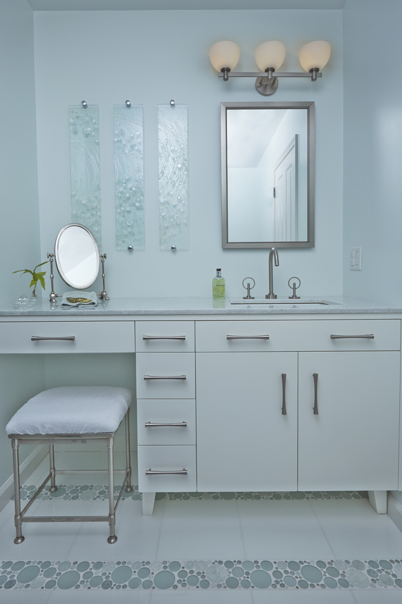 White Cabinet with sink and faucet