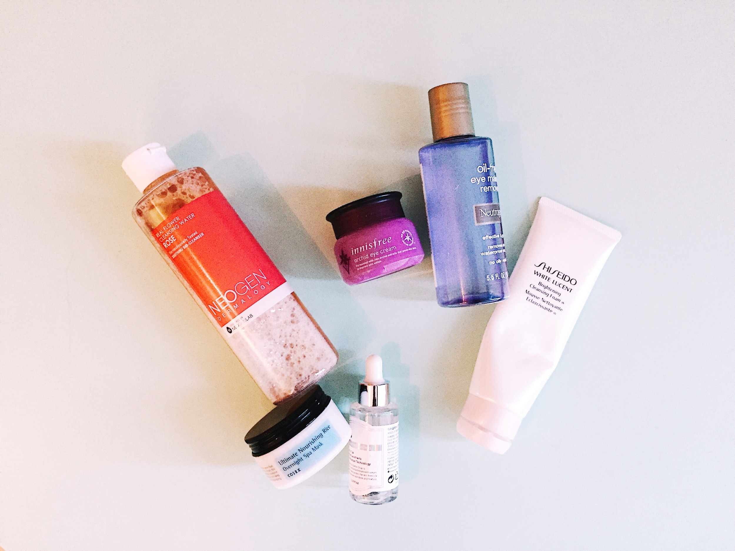 A mix of Korean and American beauty products for a daily Morning and Evening Skincare Routine