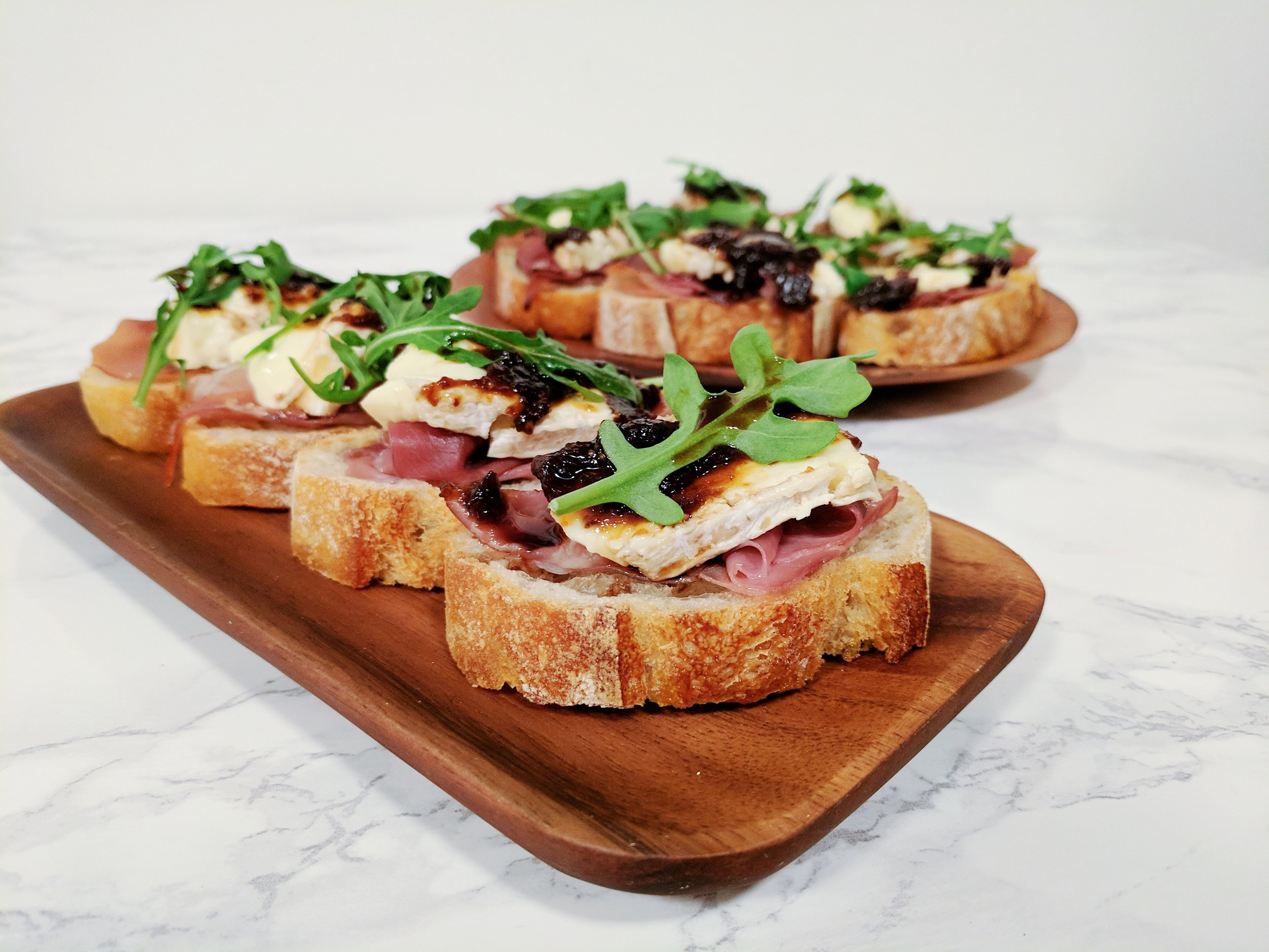 Fig, Brie, and Prosciutto Bruschetta