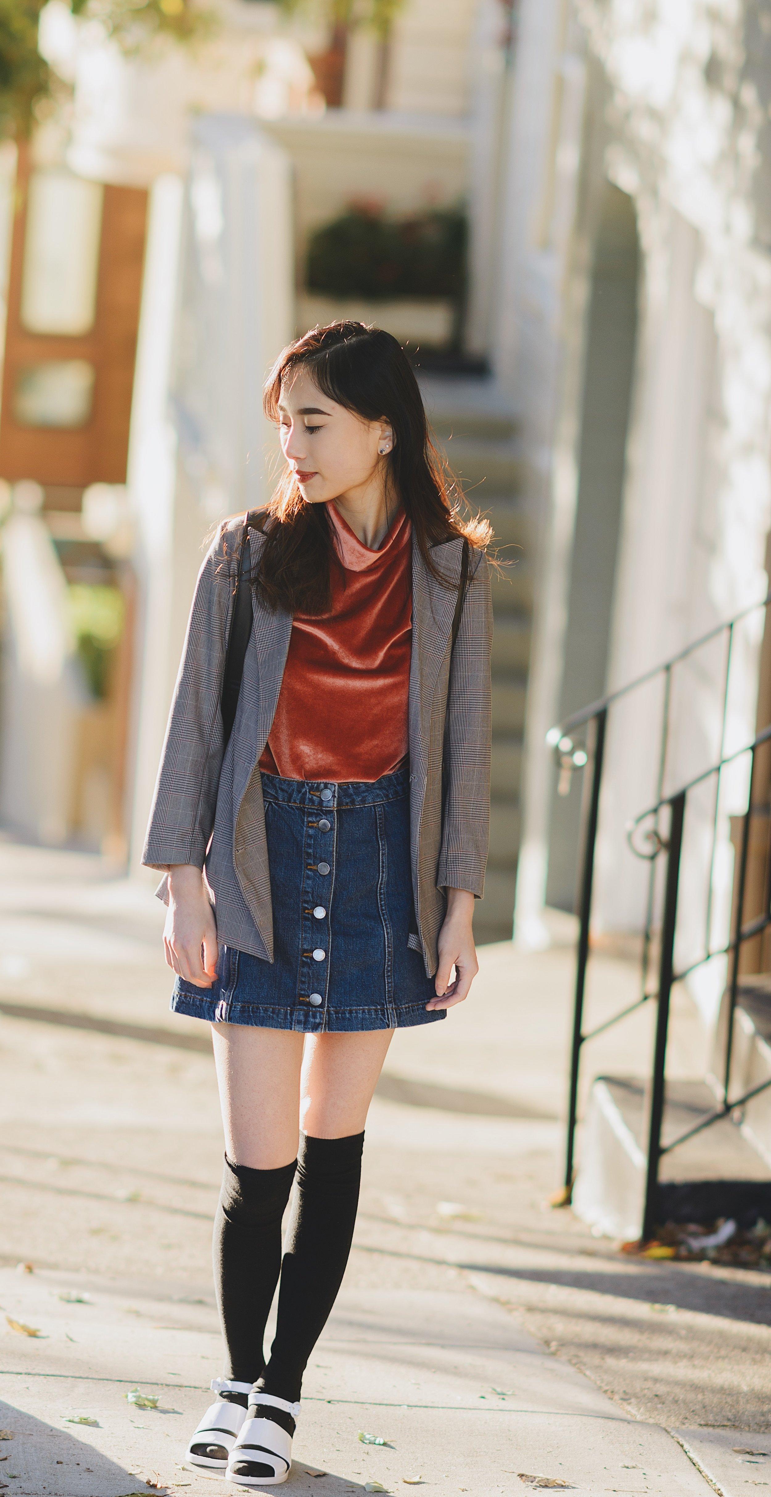 Cinder Block: top - Madewell, Skirt - Topshop, Shoes - American Apparel
