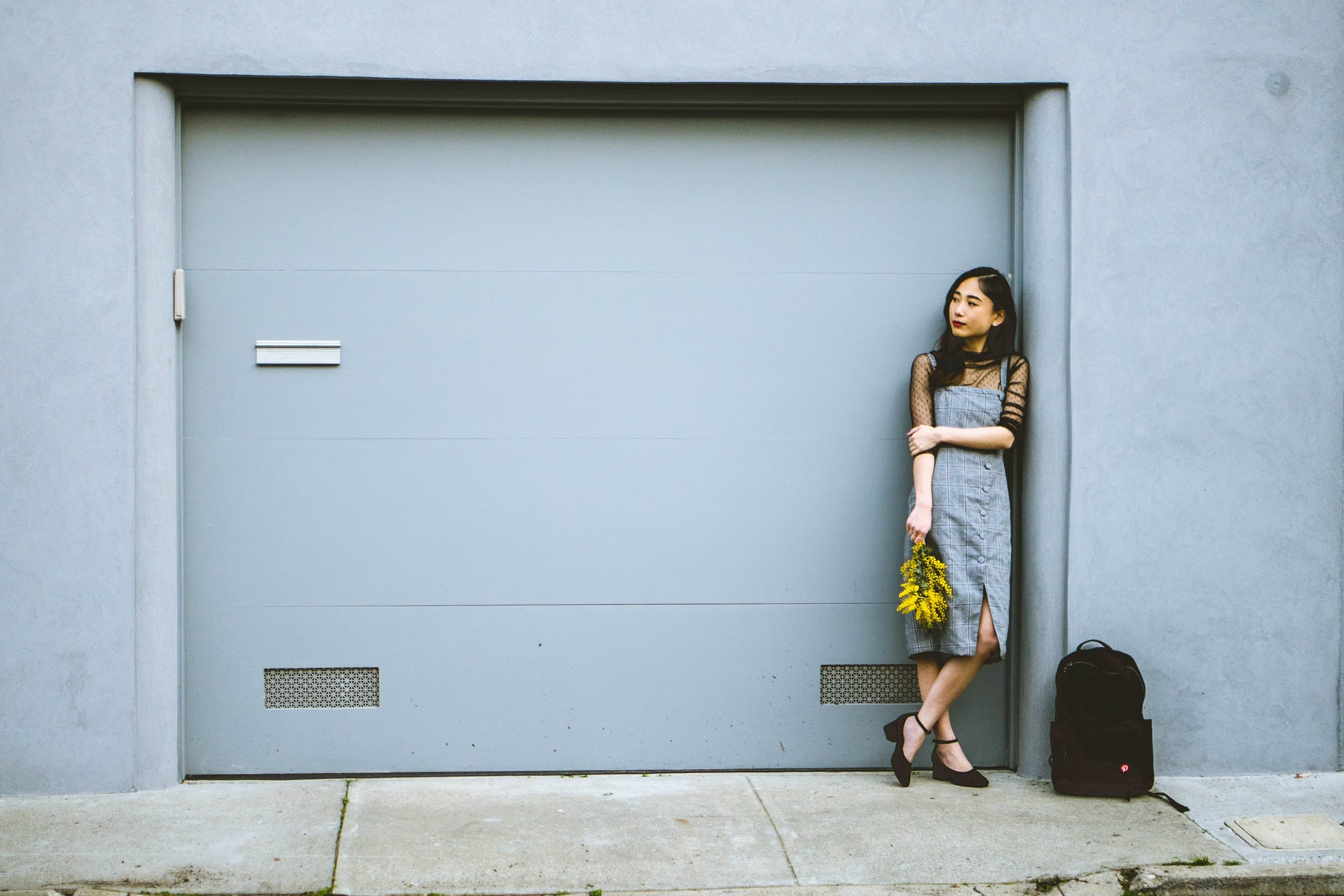 Dress: Eggie, Sheer Blouse: Styleaddict, Shoes: Sigerson Morrison, Backpack: Everlane