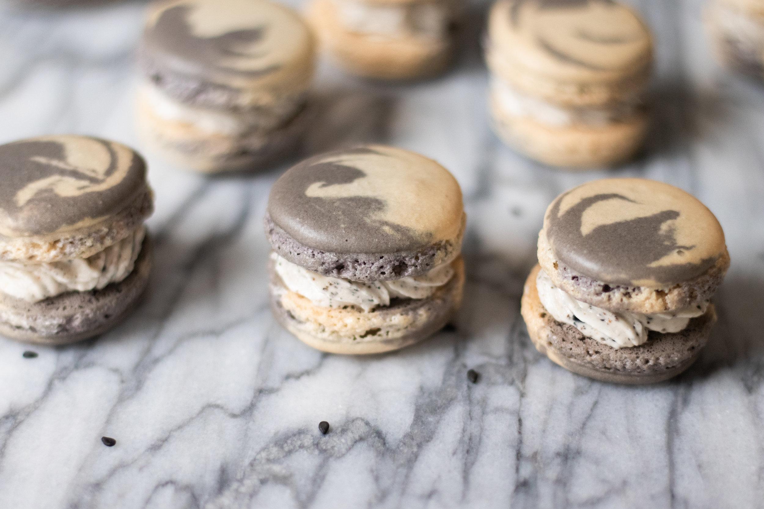 Black Sesame Cheesecake Macarons