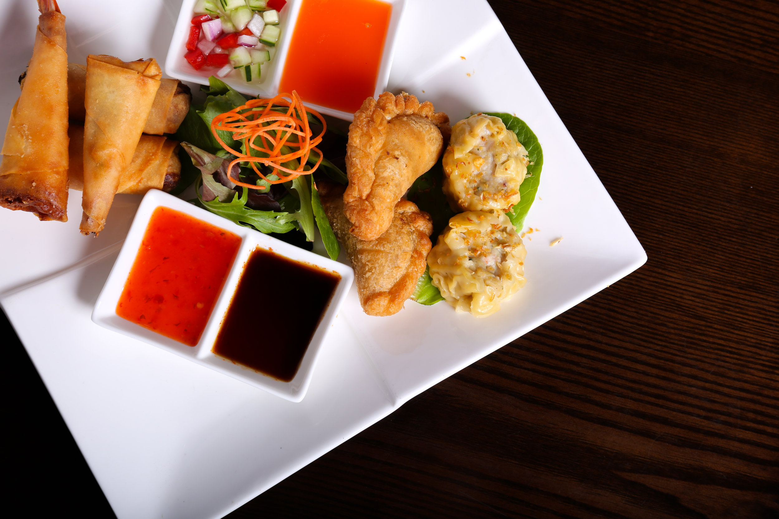 Assorted Appetizer      - curry puff, spring roll, shumai and shrimp roll.
