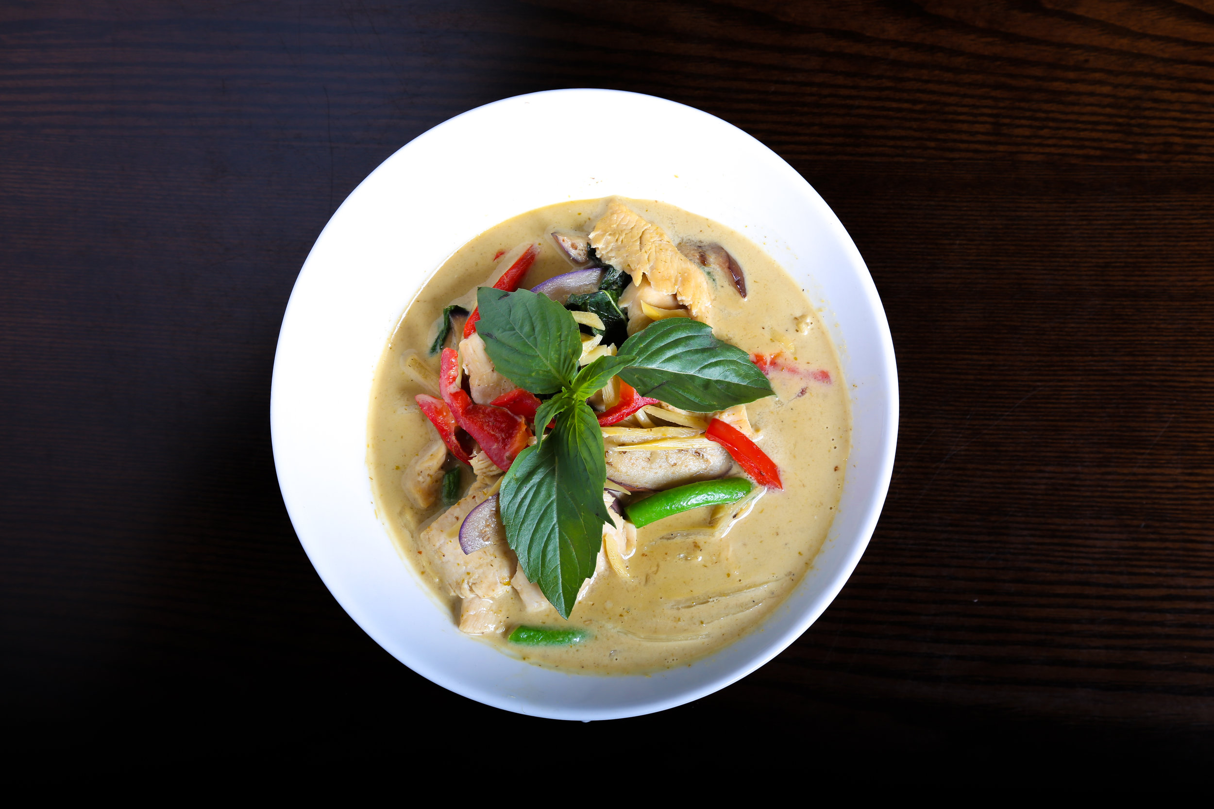 Green Curry - Coconut milk, bamboo shoots, eggplant, bell pepper, string bean and basil.