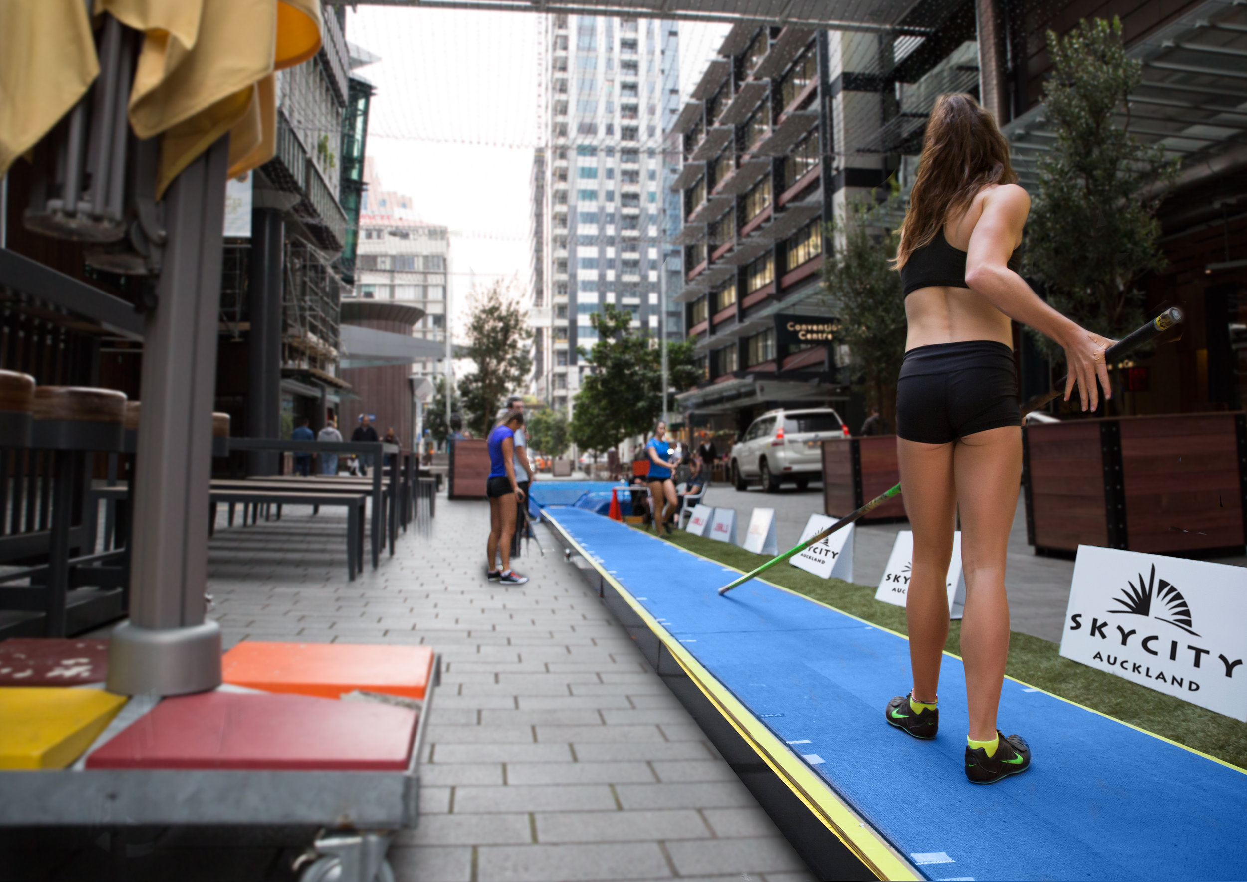 Imogen Ayris on the runway: Photoshopped onto Federal Street. Used as a visual aid for planning as well as promotion for the event for media.