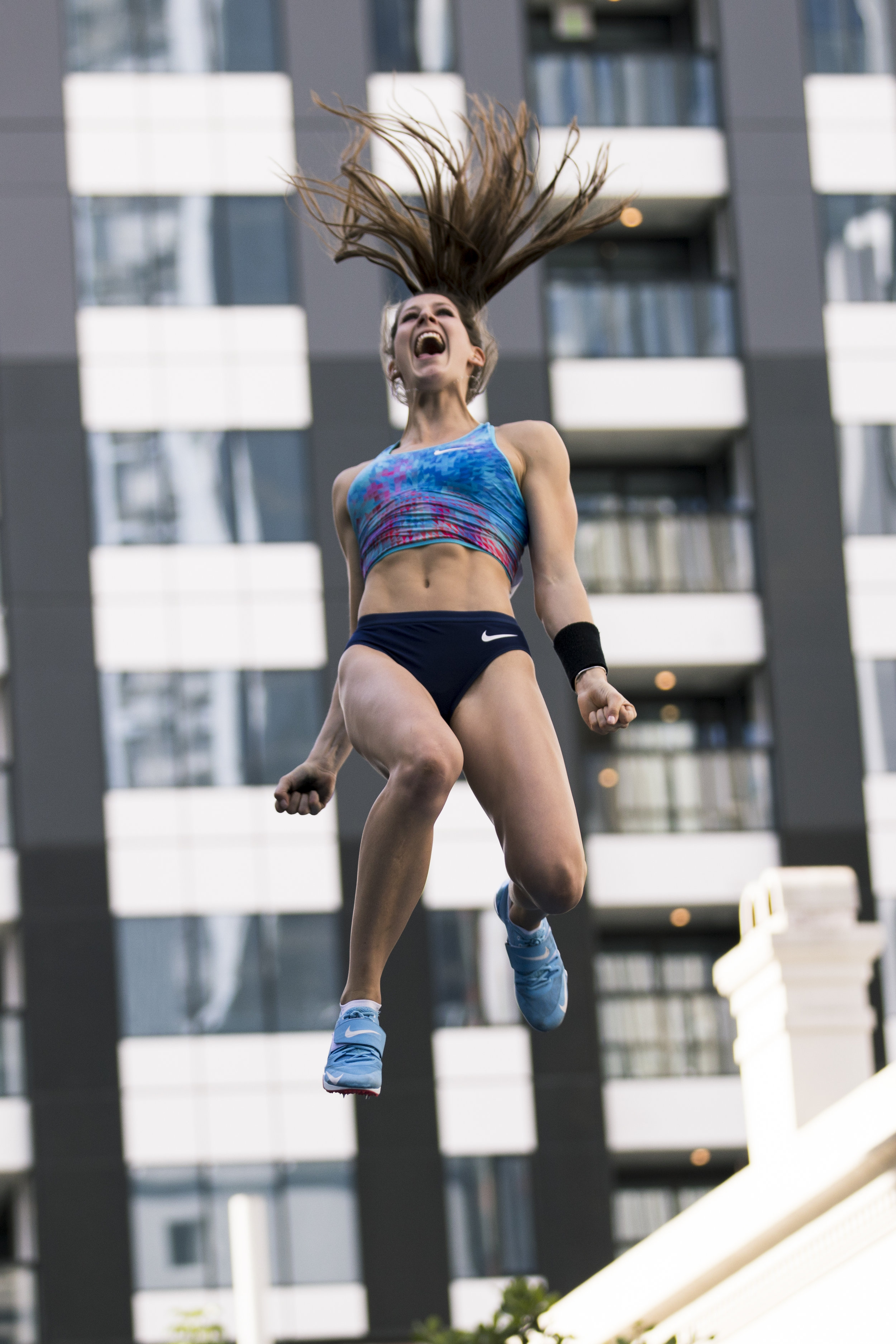 Eliza McCartney clears an exhibition personal best of 4.90m at the SKYCITY Vertical Pursuit Pole Vault Competition. Auckland, New Zealand. 18 March 2018. Copyright photo: Alisha Lovrich / www.photosport.nz