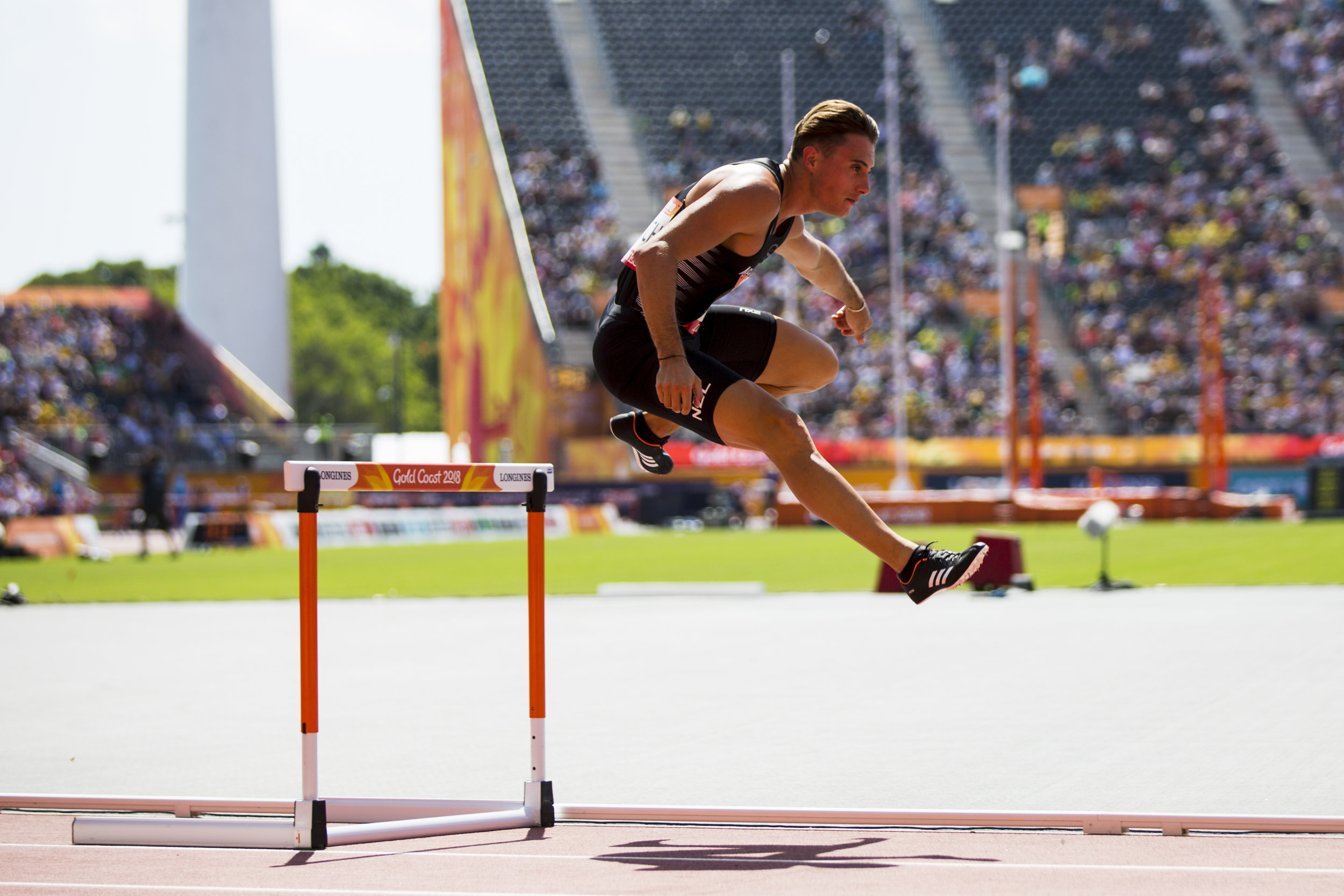 Cameron French in the 400m Hurdles at the 2018 Commonwealth Games. Gold Coast, Australia. Copyright photo: Alisha Lovrich / www.photosport.nz