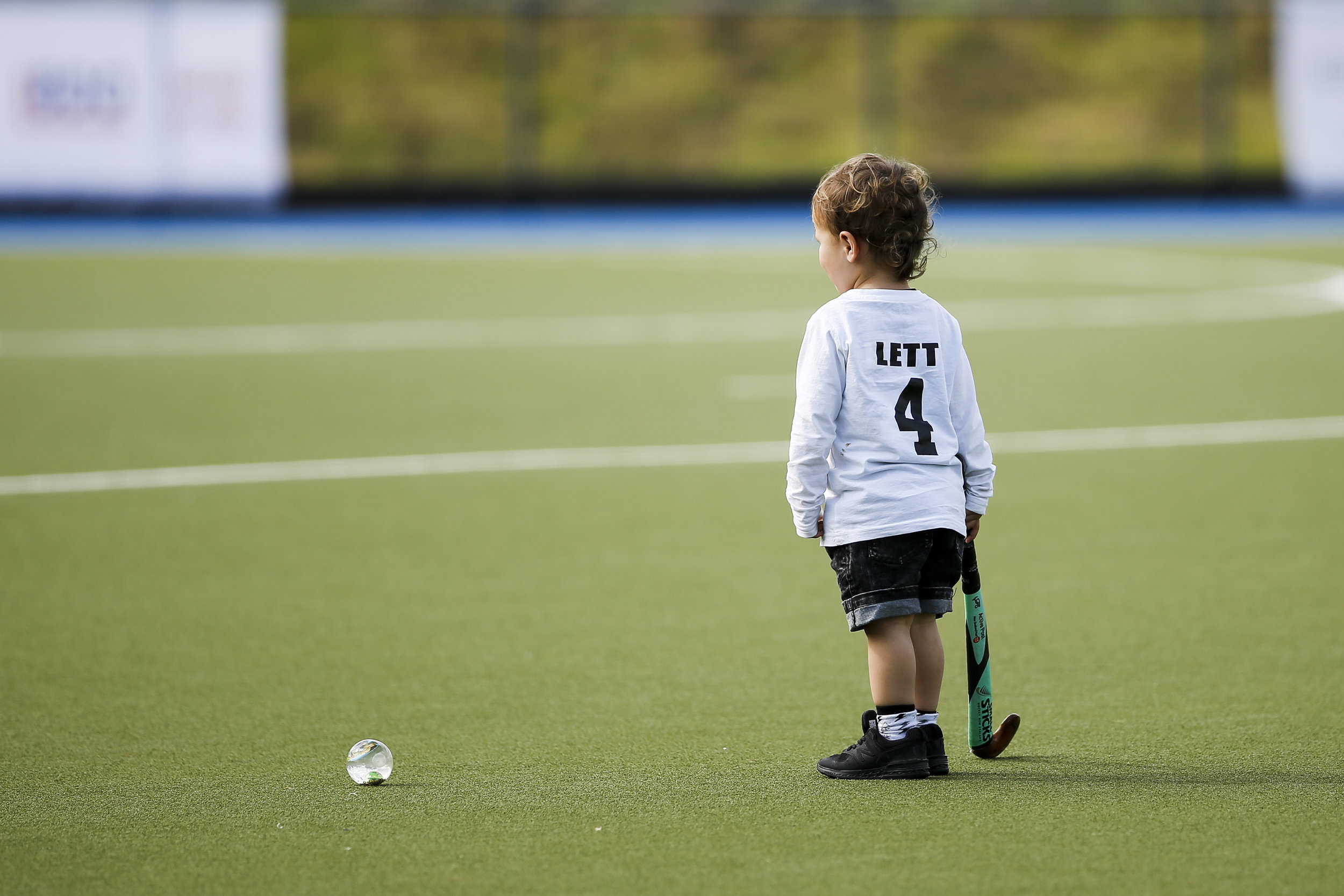 Dane Lett's son has a run on the turf at the final game of the Black Sticks v Canada Test Matches 21 October 2018. Copyright photo: Alisha Lovrich / www.photosport.nz