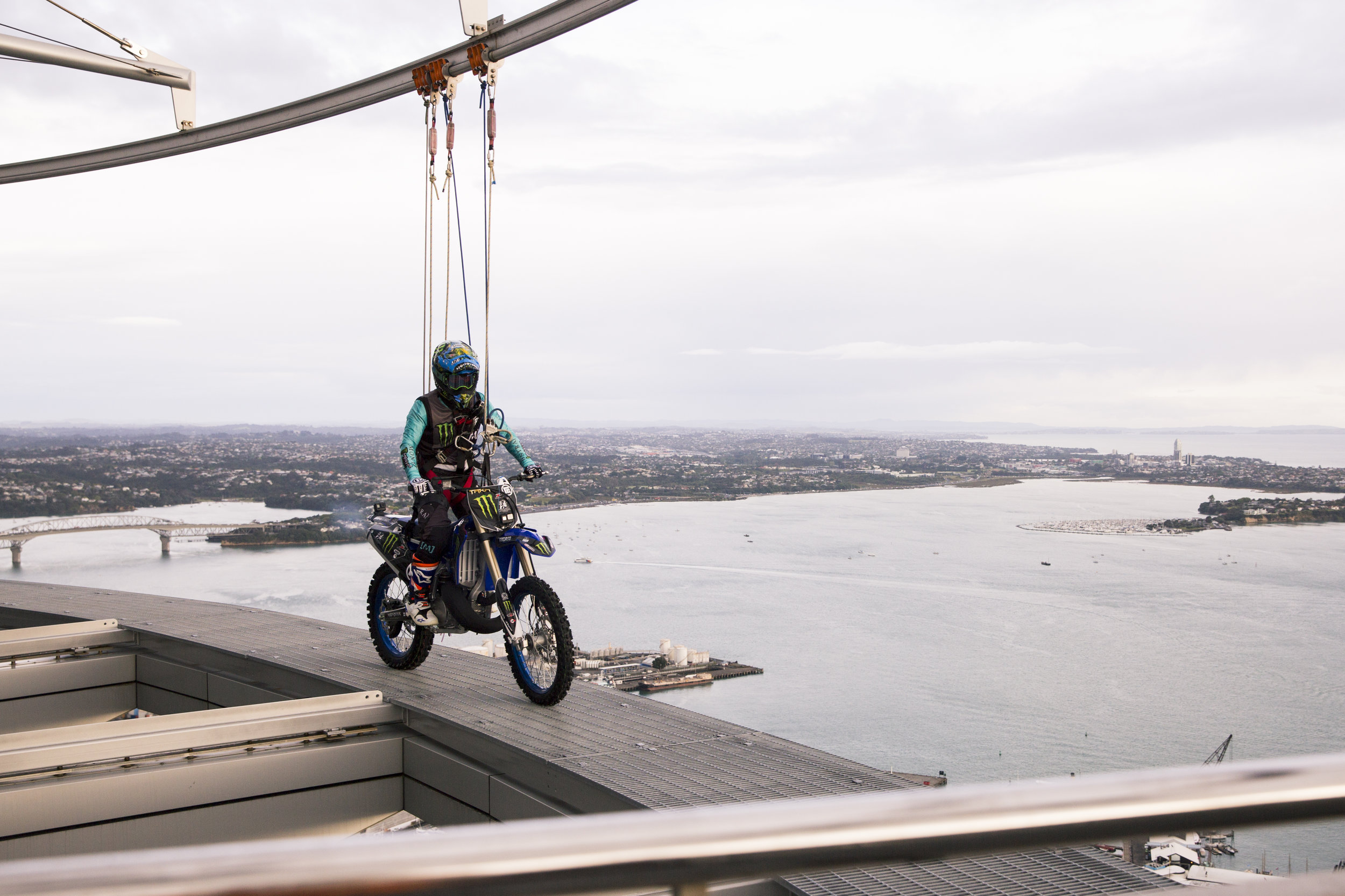 Freestyle Motocross Rider Taka Higashimo becomes the first person to ride a motorcycle around outside Auckland's Sky Tower on the SkyWalk. Auckland, New Zealand. 21 November, 2018. Copyright photo: Alisha Lovrich / www.photosport.nz