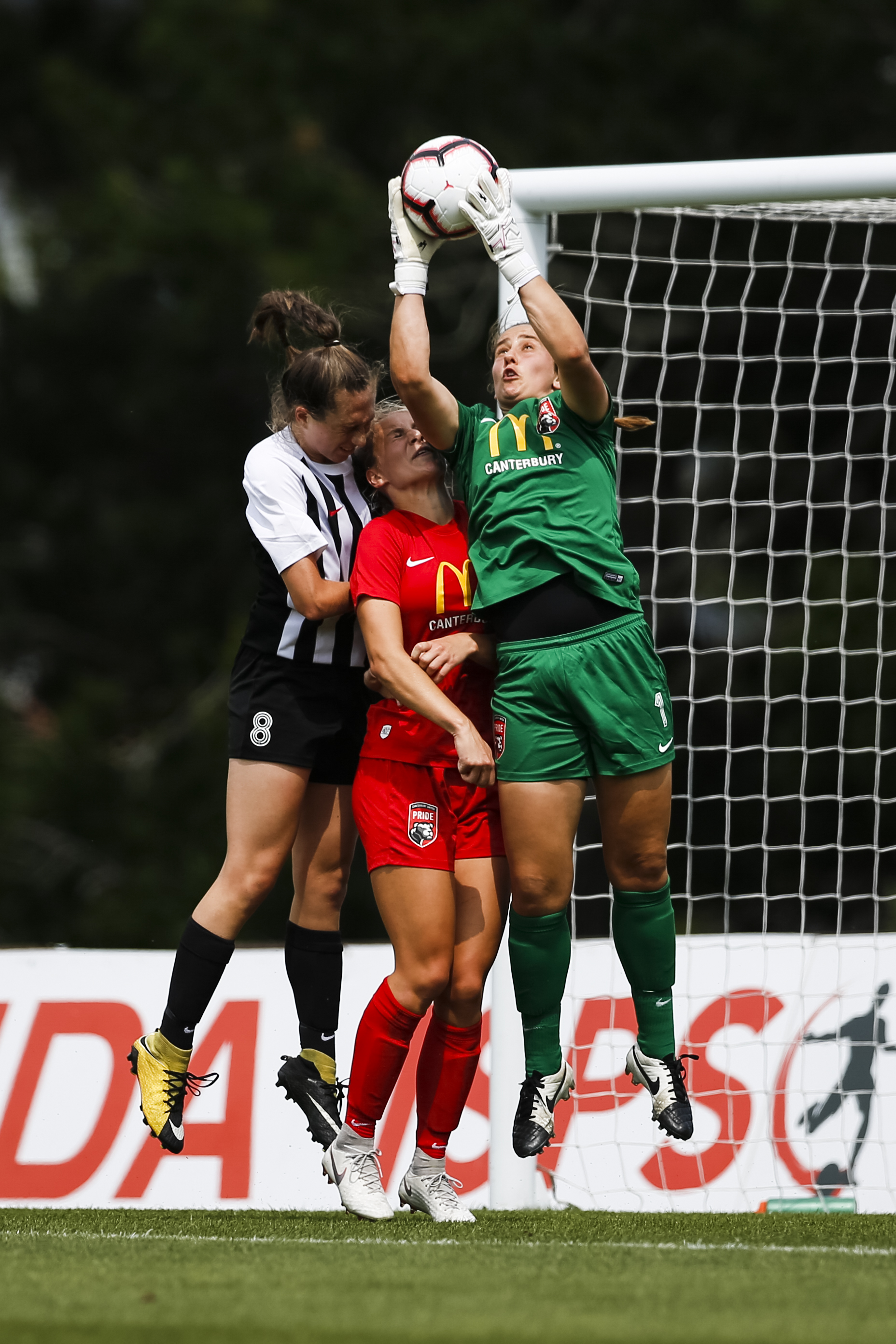 Victoria Esson of Canterbury makes a save against Northern at the National Women's League Final. 16 December 2018. Trusts Arena, Auckland, New Zealand. Copyright photo: Alisha Lovrich / www.photosport.nz