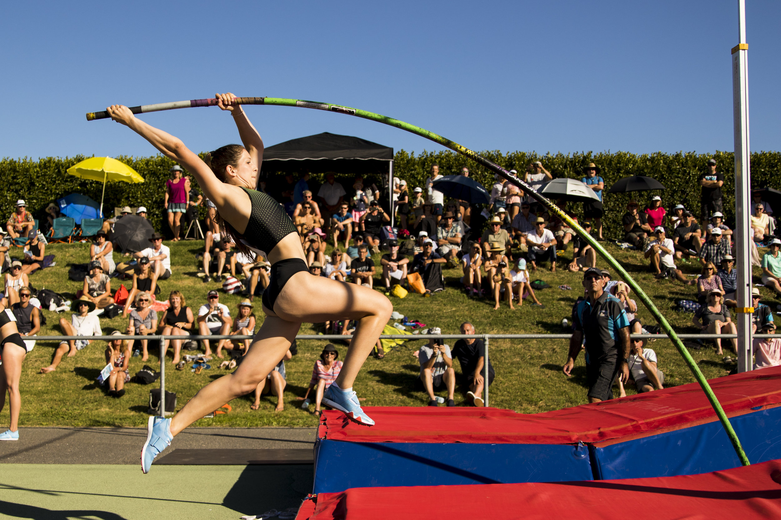 Eliza McCartney jumps 4.85m and breaks the meeting record at the Potts Classic. 26 January 2018. Hastings, New Zealand. Copyright photo: Alisha Lovrich / www.photosport.nz
