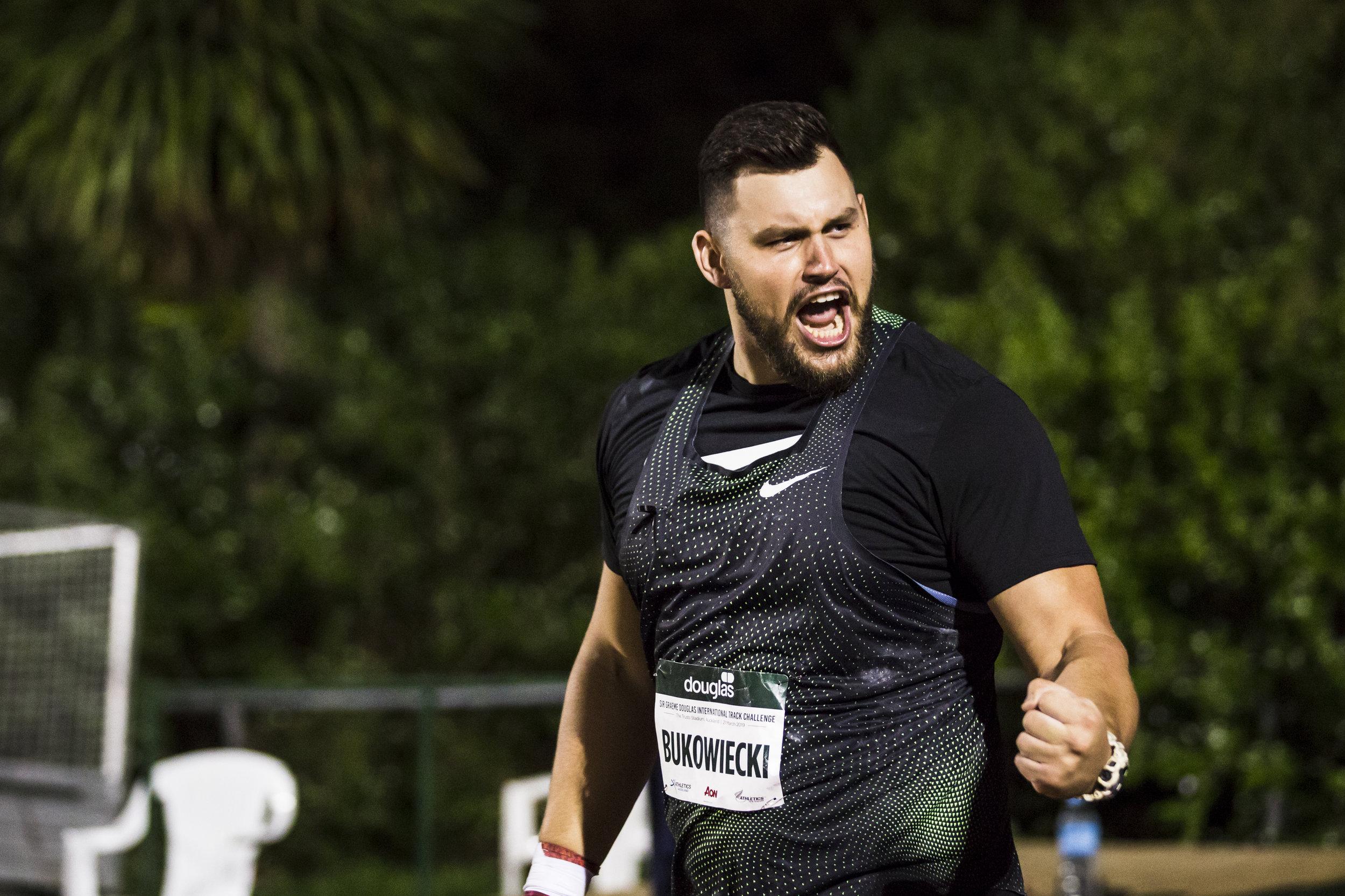 Konrad Bukowiecki wins the Shot Put at the Sir Graeme Douglas International Track Challenge. 21 March 2019. Auckland, New Zealand. Copyright photo: Alisha Lovrich / www.photosport.nz