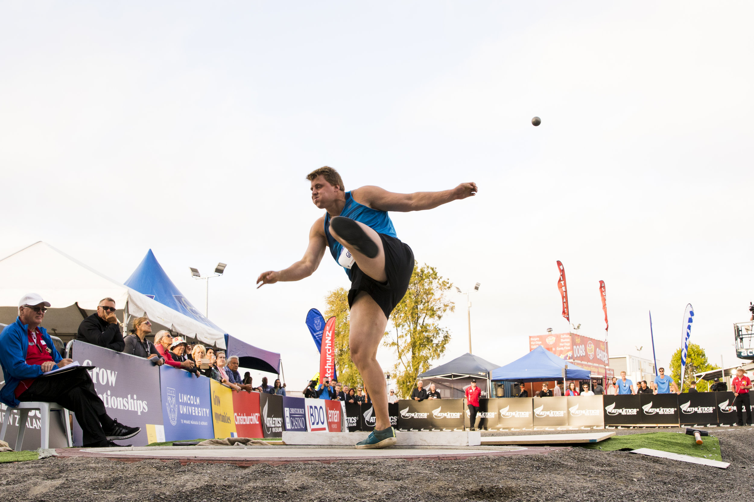 Jacko Gill in the Shot Put at the Lincoln University Street Athletics Festival. 6 March 2019, Christchurch, New Zealand. Copyright photo: Alisha Lovrich / www.photosport.nz