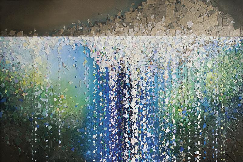 "Masterpiece of Love original artwork Regeneration by Tomo Mori; 24"" x 36"" acrylic canvas on canvas collage"